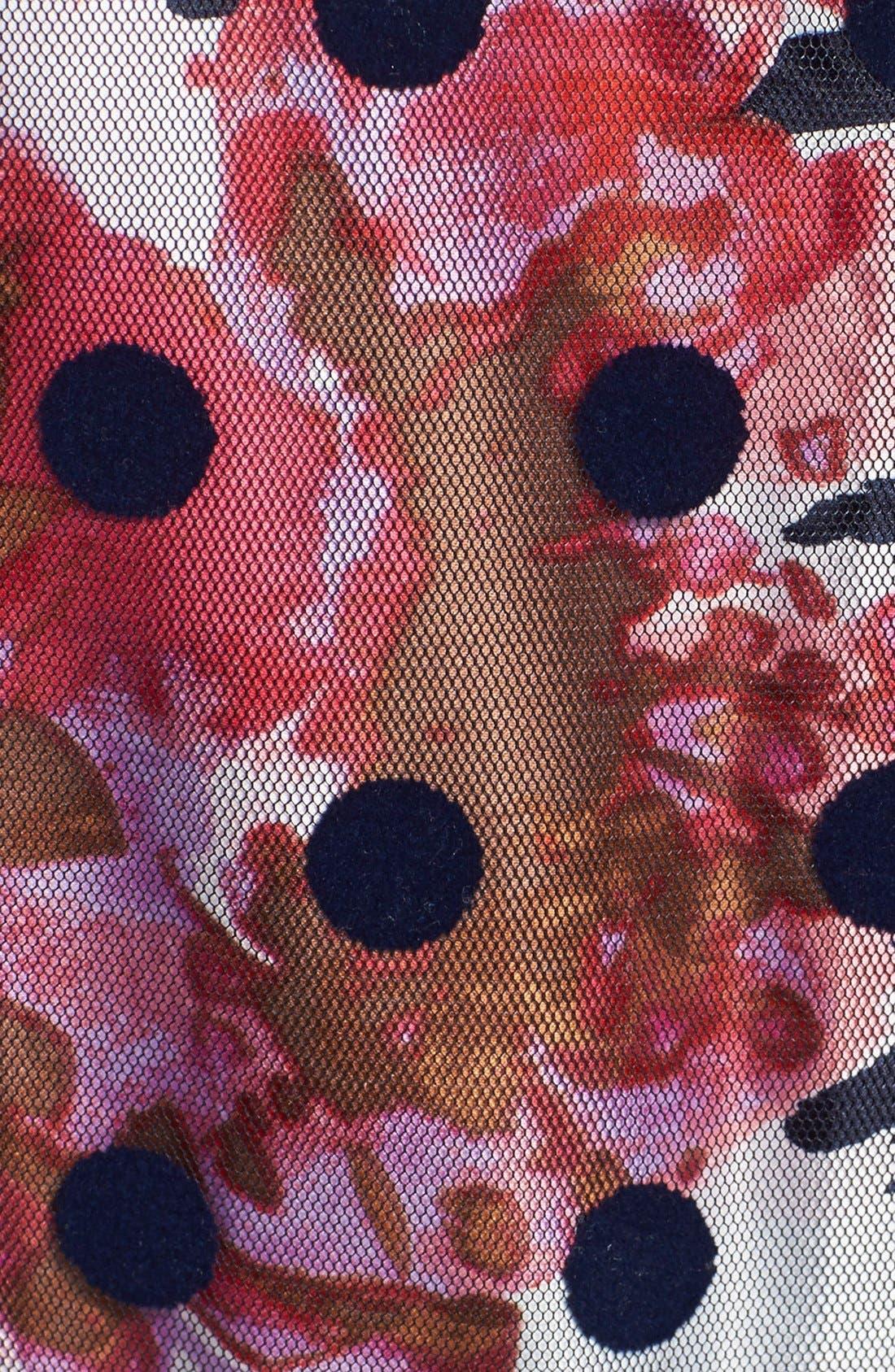 Alternate Image 4  - Eliza J Belted Print Mixed Media Fit & Flare Dress