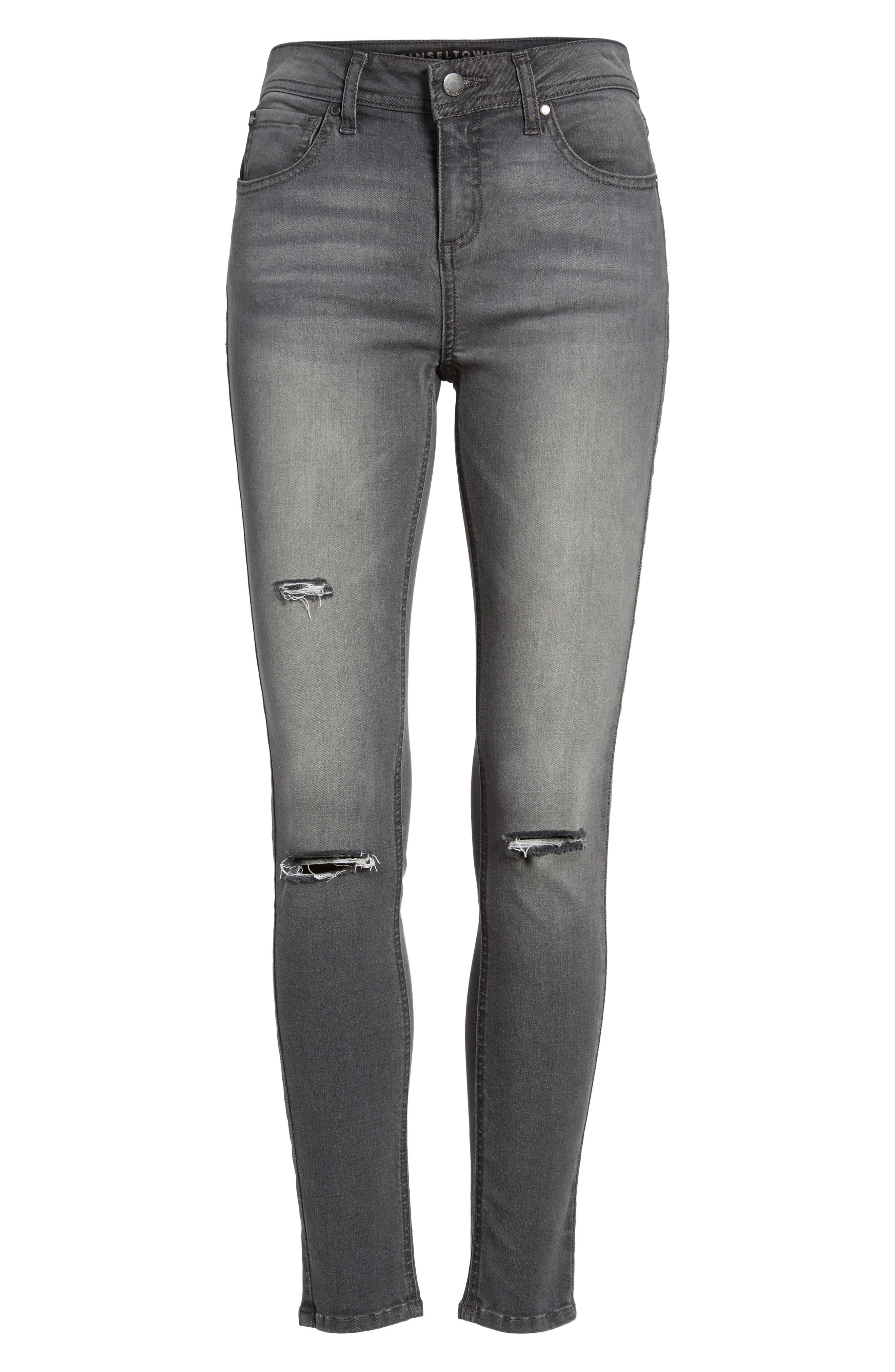 Ripped Skinny Jeans,                             Alternate thumbnail 6, color,                             Rebelite Charcoal