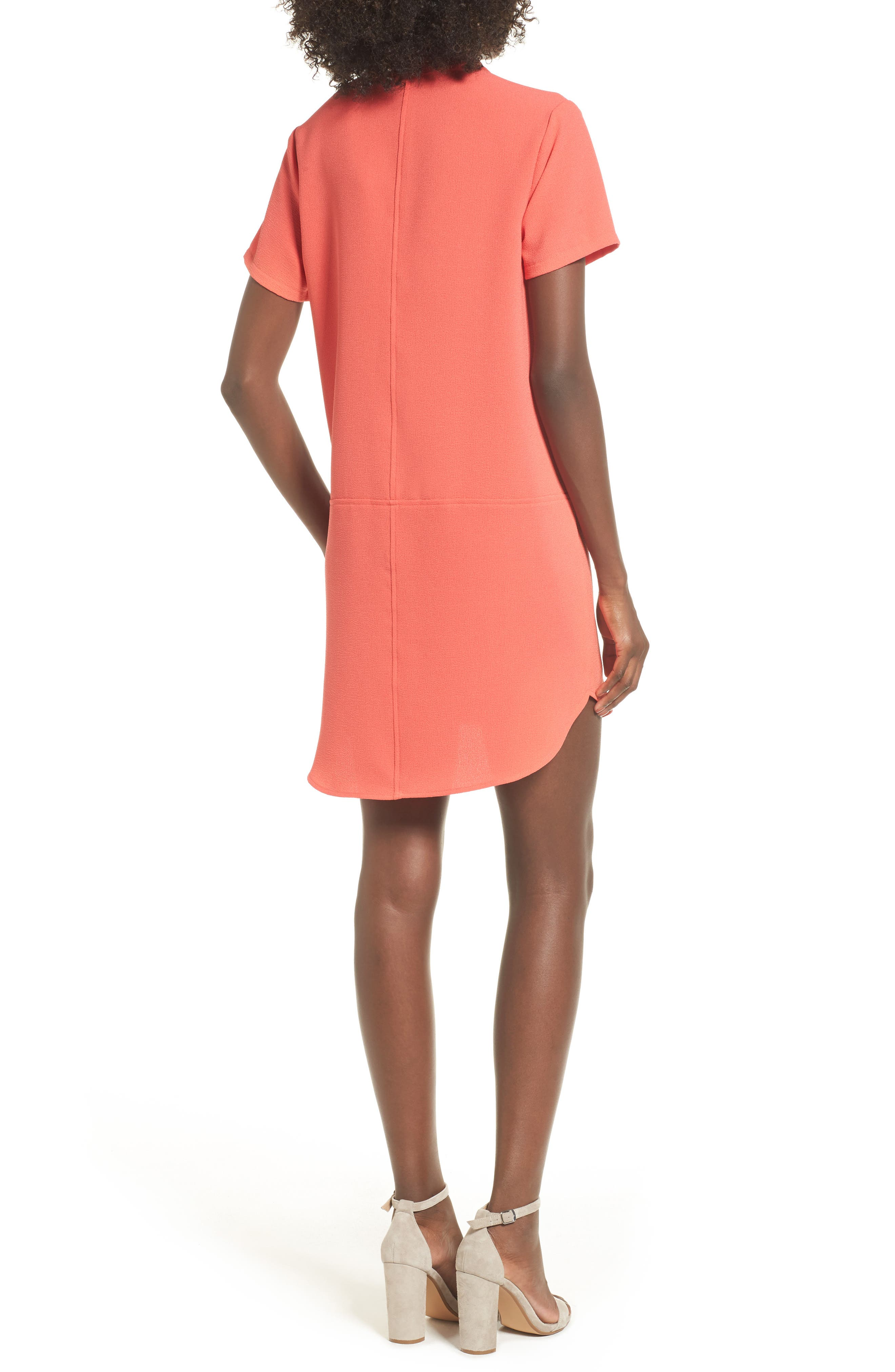 Hailey Crepe Dress,                             Alternate thumbnail 2, color,                             Hot Coral