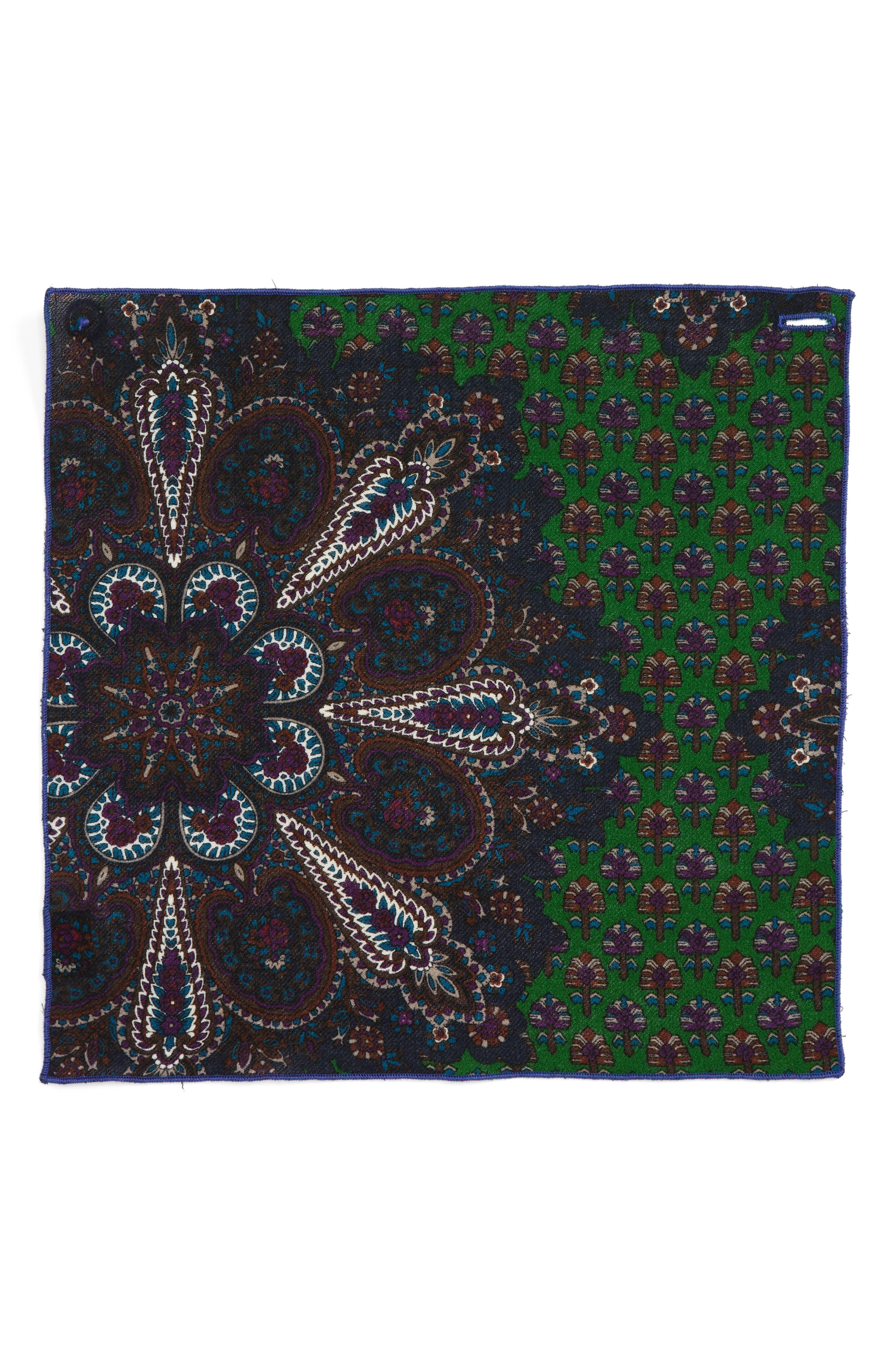 Paisley Wool Pocket Square,                             Alternate thumbnail 2, color,                             Purple