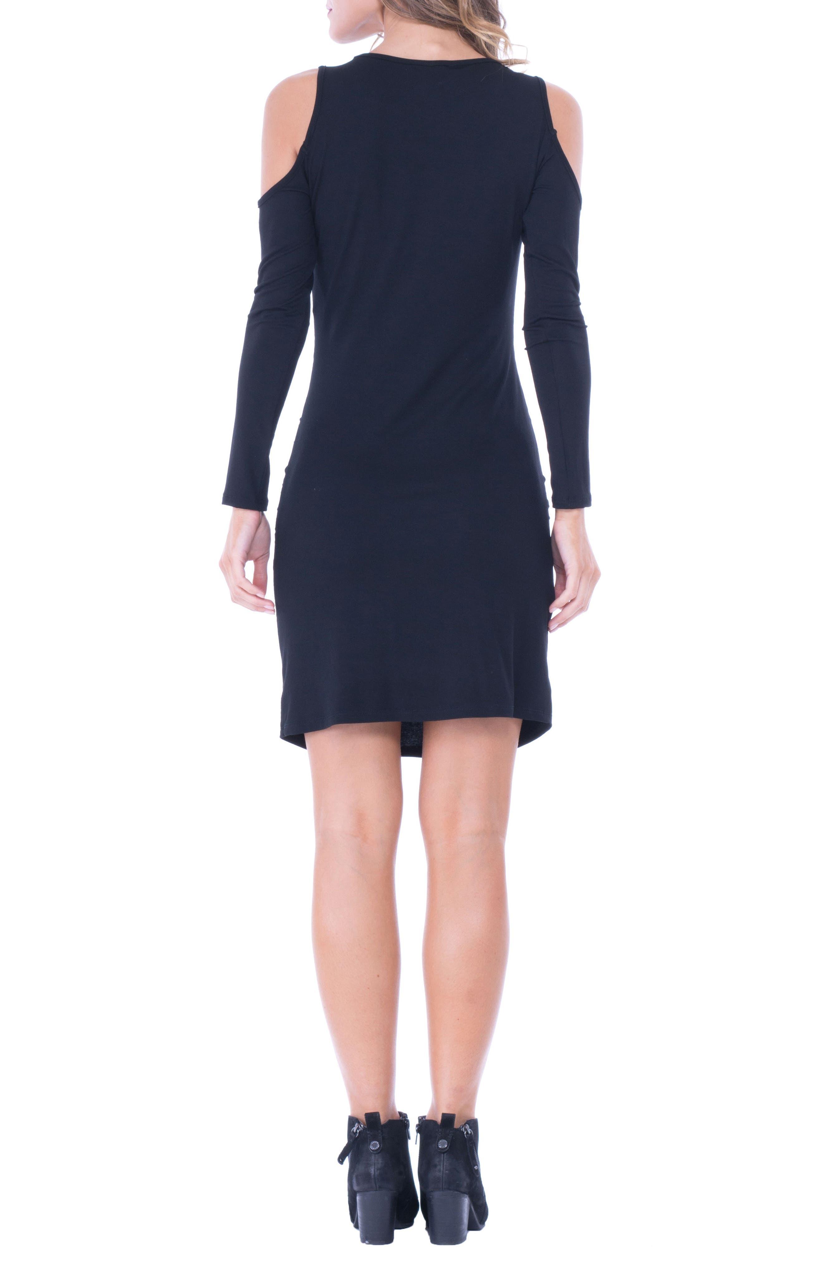 Cold Shoulder Ruched Sheath Dress,                             Alternate thumbnail 2, color,                             Black
