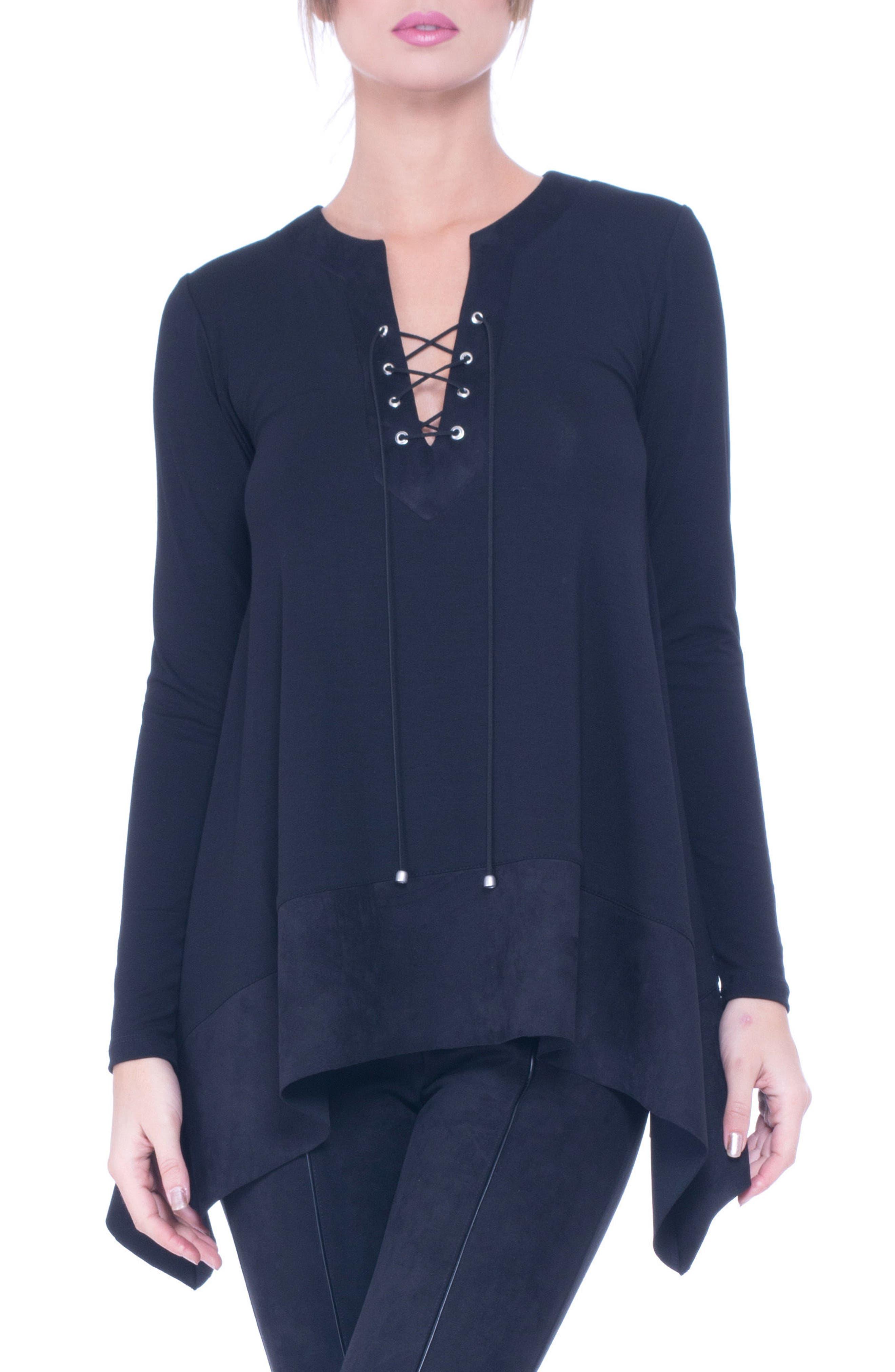 Katia Faux Suede Trim Lace-Up Maternity Top,                         Main,                         color, Black