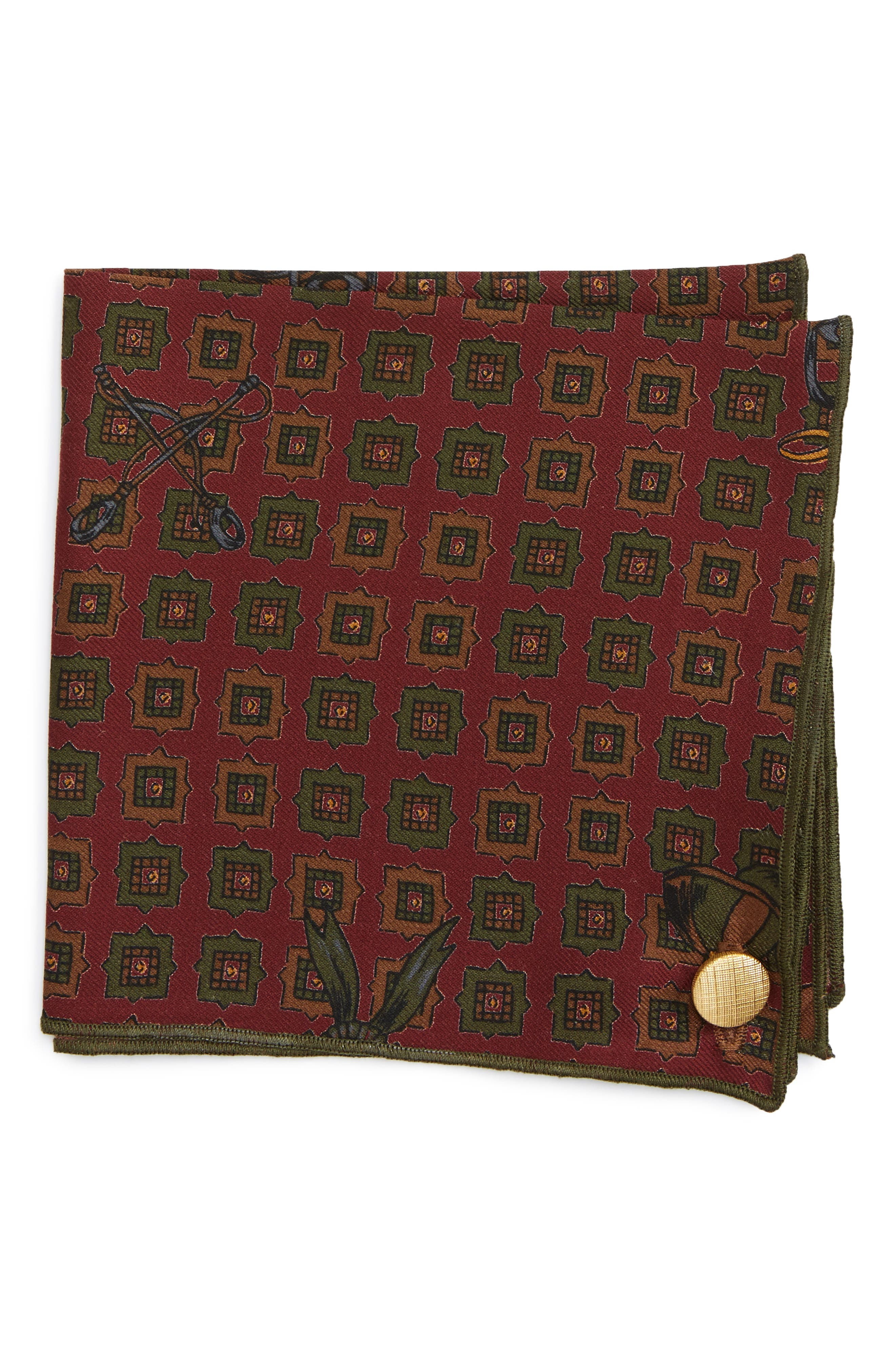 Henry Wool Pocket Square,                         Main,                         color, Maroon