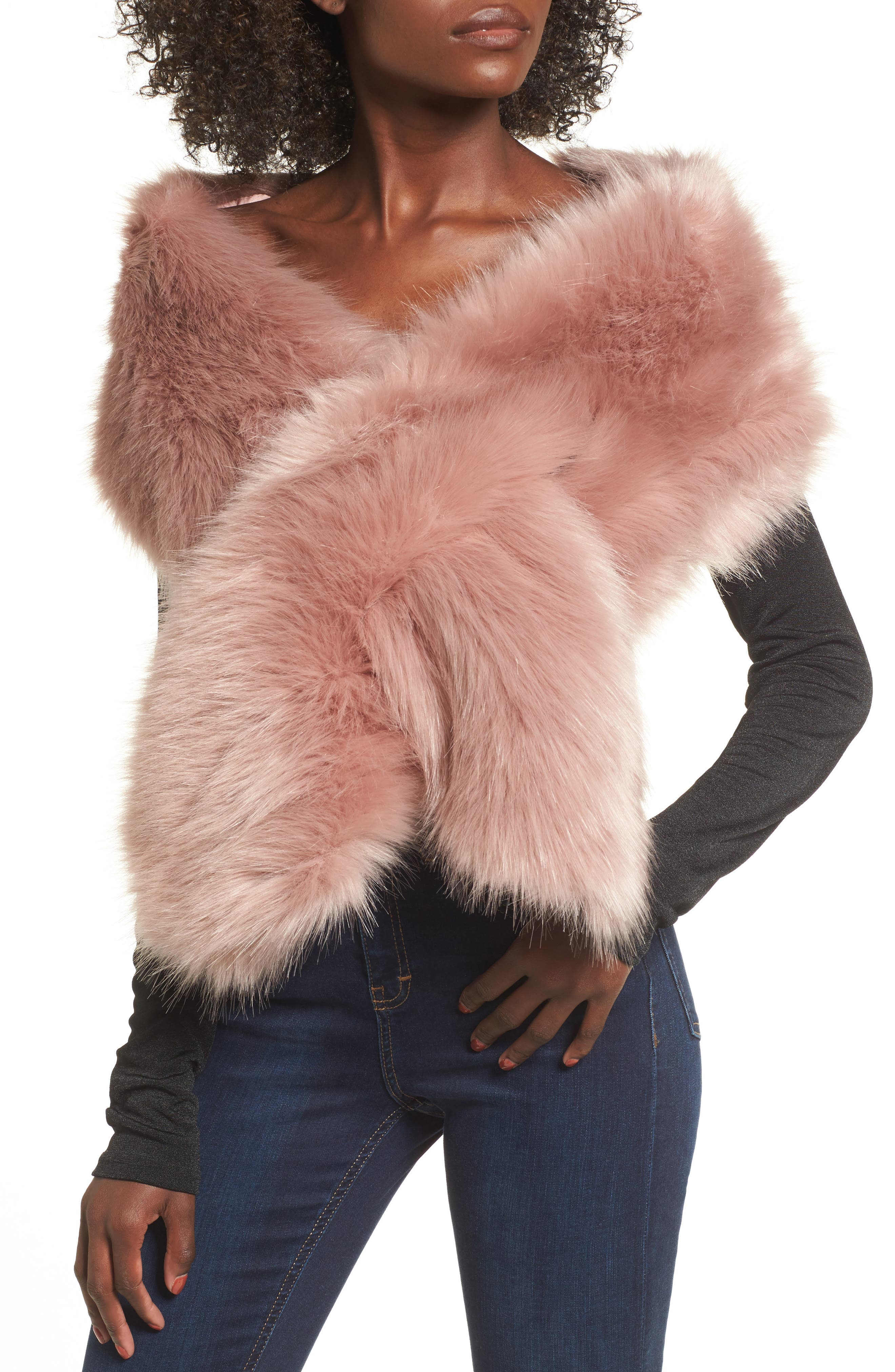 Main Image - Sole Society Oversize Faux Fur Wrap