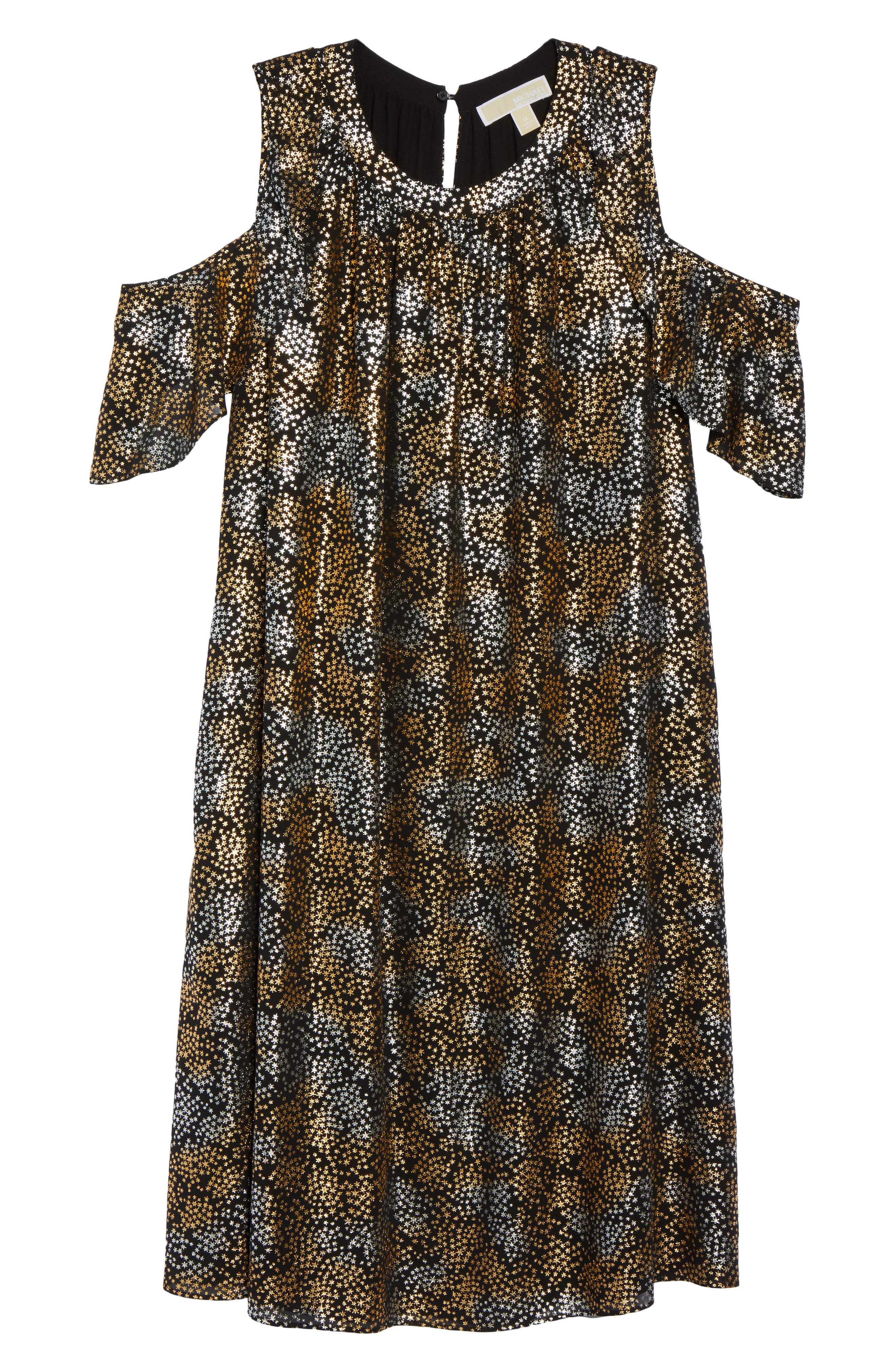 Alternate Image 6  - MICHAEL Michael Kors Cold Shoulder Metallic Star A-Line Dress (Plus Size)