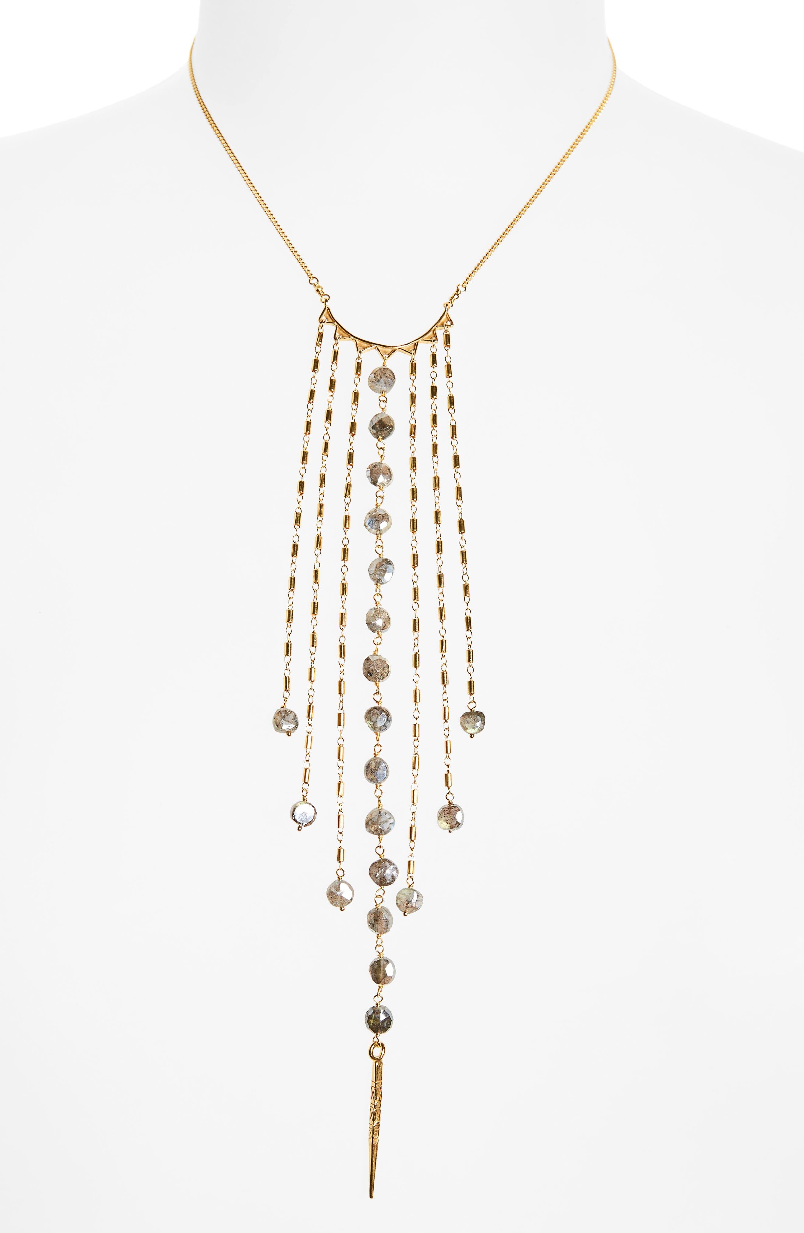 Mystic Labradorite Fringe Necklace,                             Main thumbnail 1, color,                             Mystic Lab/ Gold