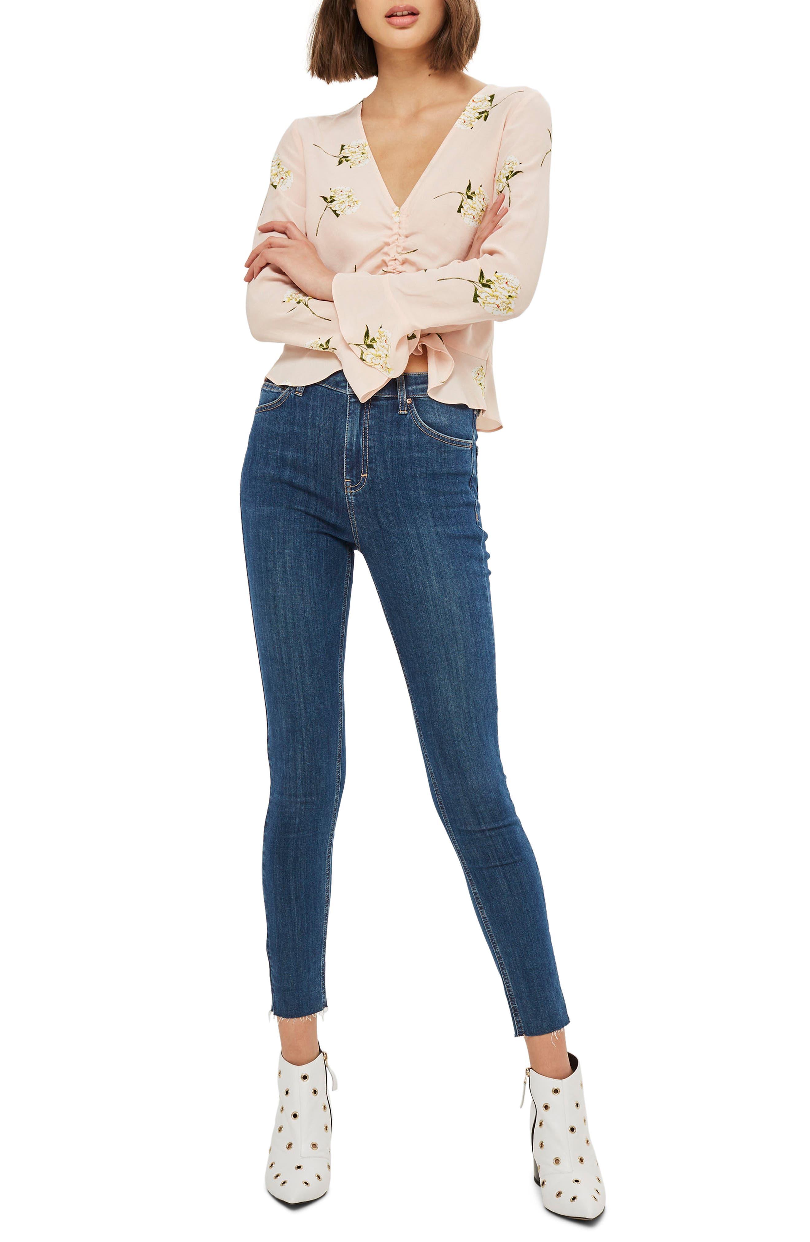 Jamie Released Hem Ankle Skinny Jeans,                         Main,                         color, Mid Denim