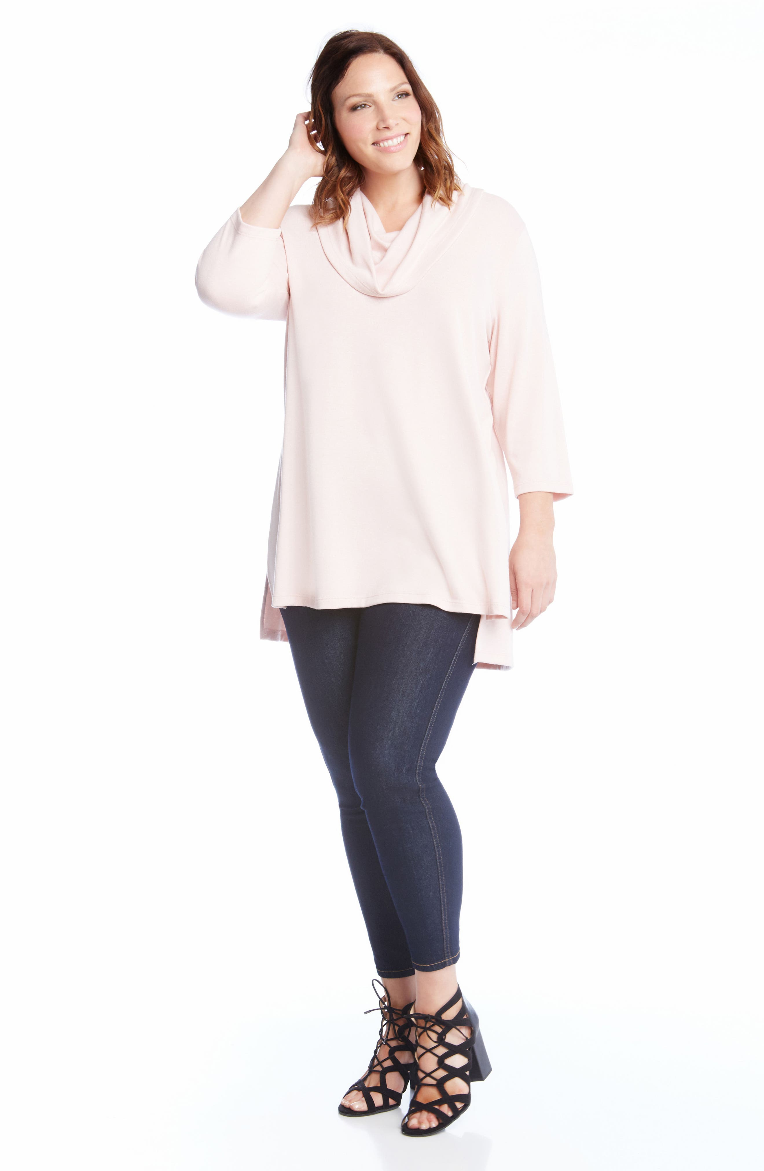 Cowl Neck High/Low Sweater,                             Alternate thumbnail 2, color,                             Pink