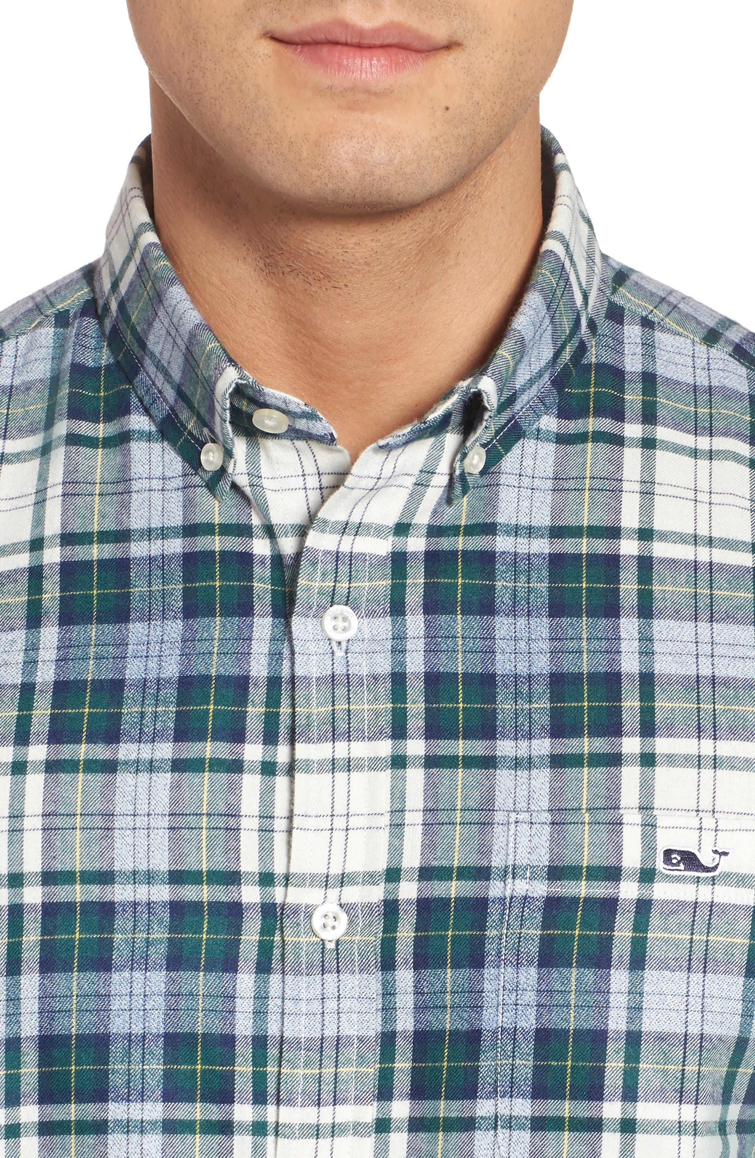 Tucker Hayward Point Slim Fit Plaid Sport Shirt,                             Alternate thumbnail 4, color,                             Charleston Green