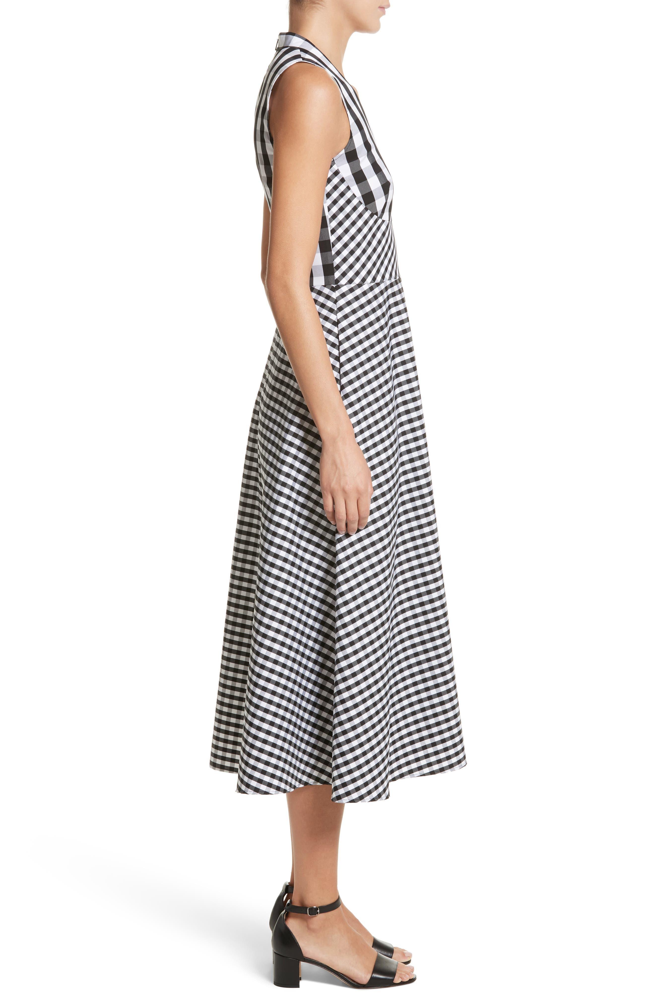 Adina Gingham Midi Dress,                             Alternate thumbnail 3, color,                             Black Multi