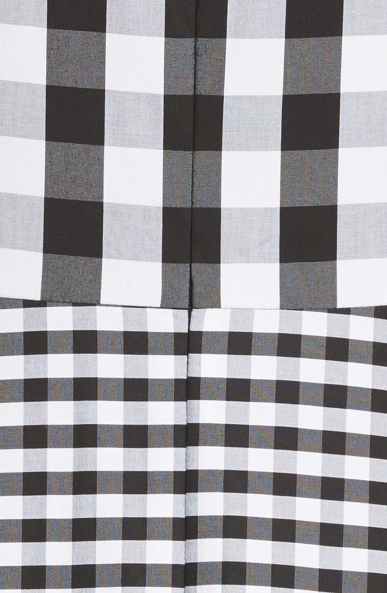 Adina Gingham Midi Dress,                             Alternate thumbnail 6, color,                             Black Multi