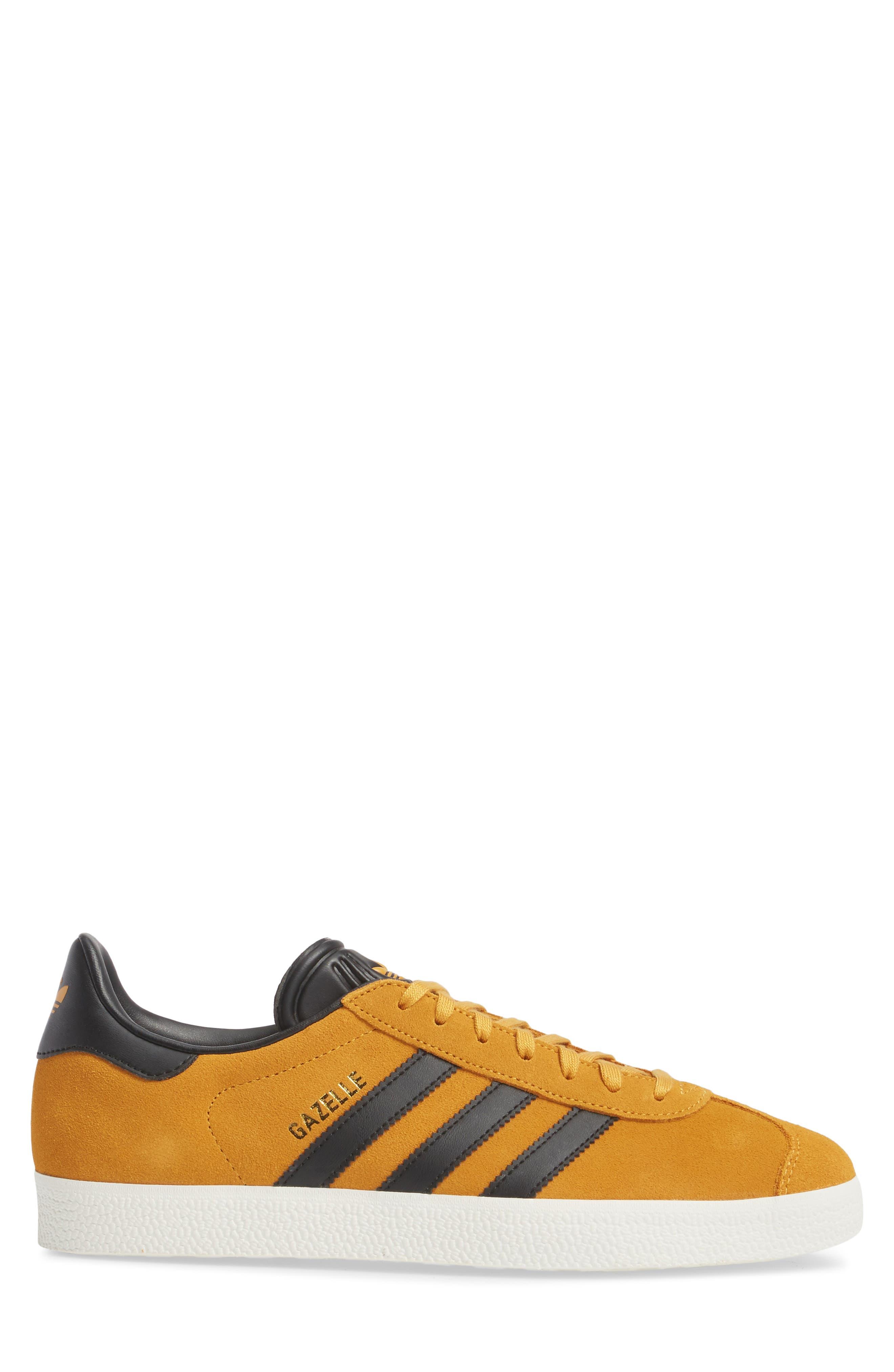 Gazelle Sneaker,                             Alternate thumbnail 3, color,                             Yellow/ Core Black/ Gold