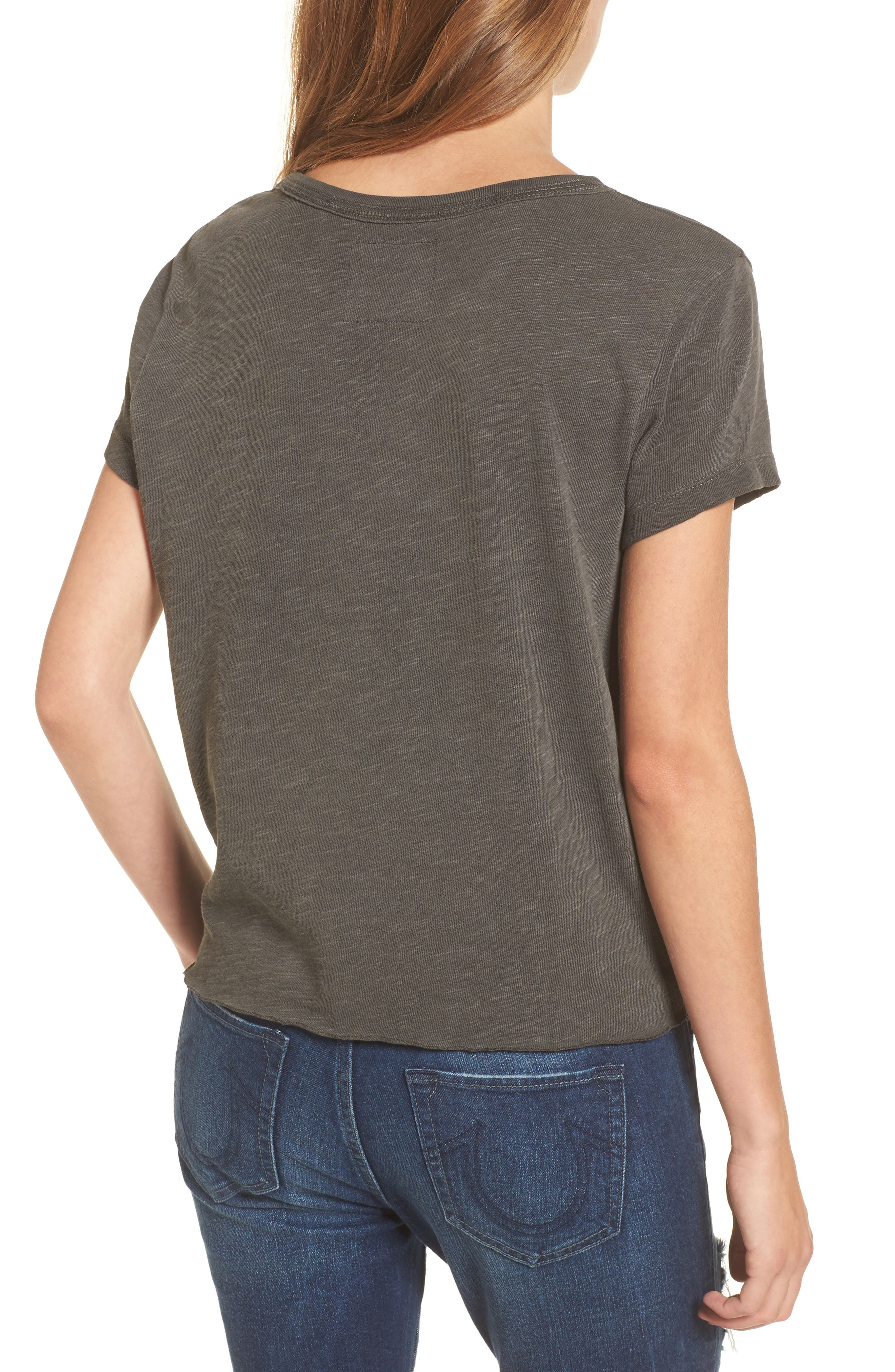 Eagle Tie Front Tee,                             Alternate thumbnail 2, color,                             Charcoal