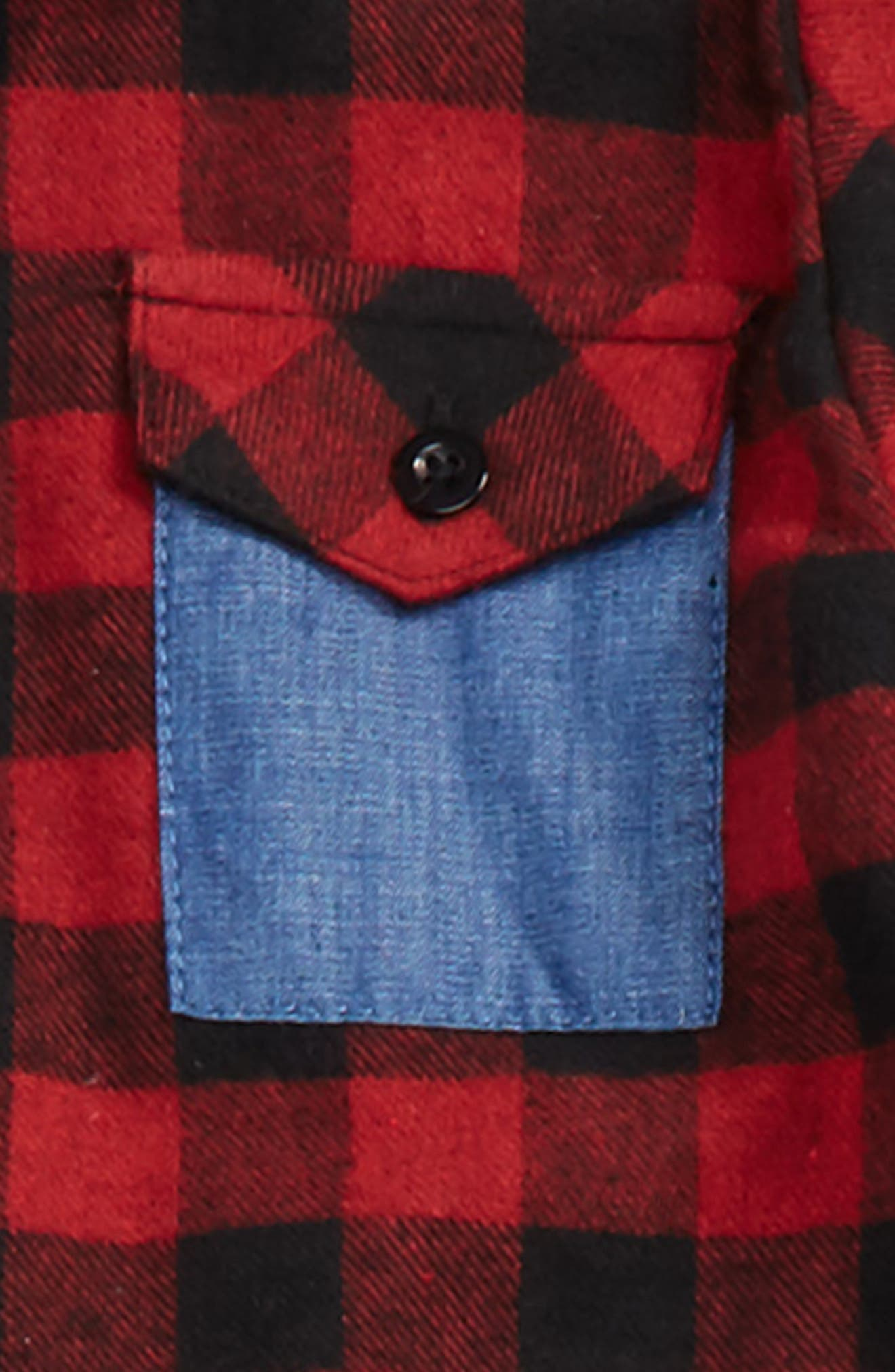 Hooded Flannel Shirt & Stretch Pants Set,                             Alternate thumbnail 3, color,                             Ink