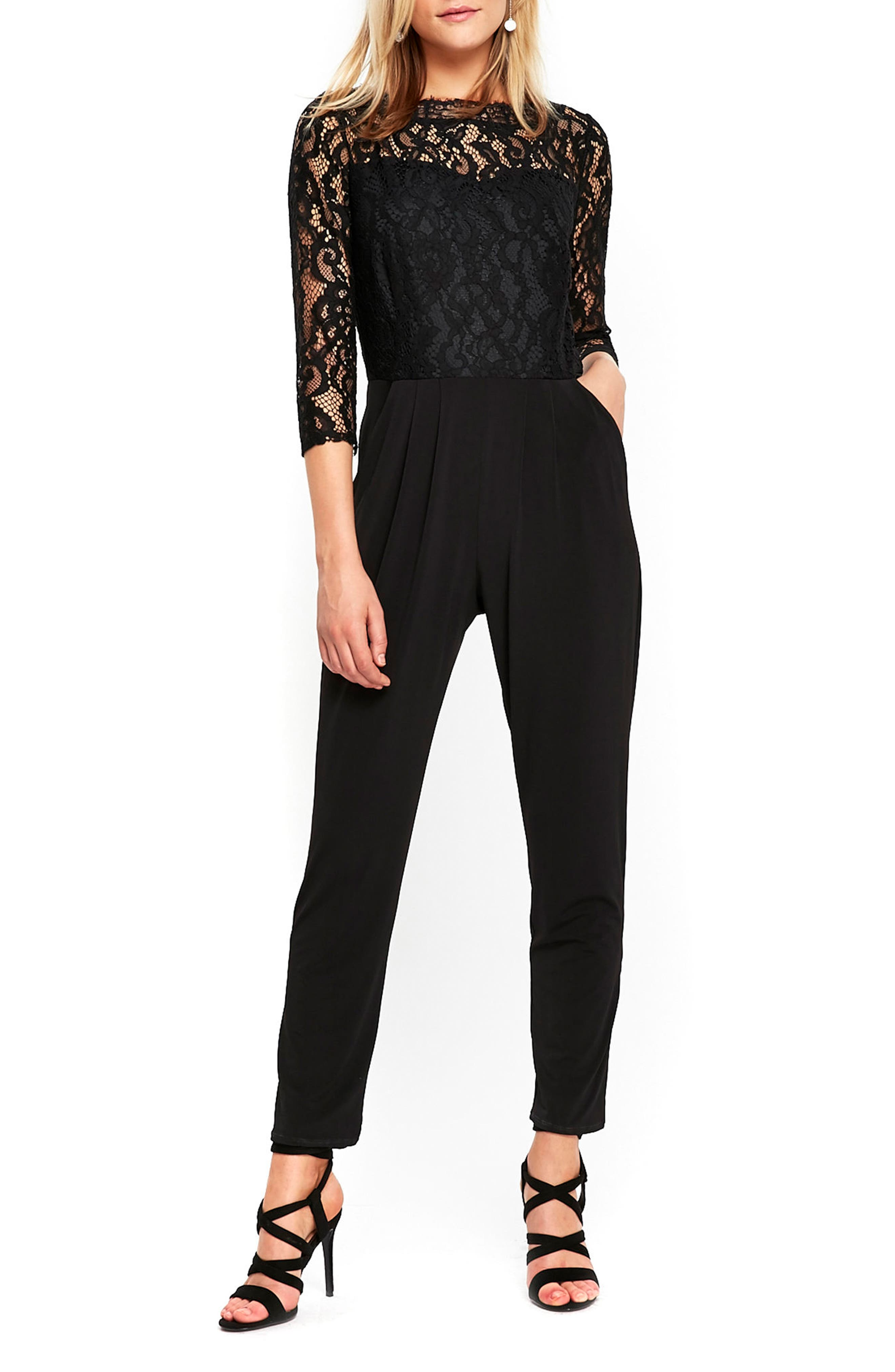Wallis Lace Bodice Bateau Neck Jumpsuit