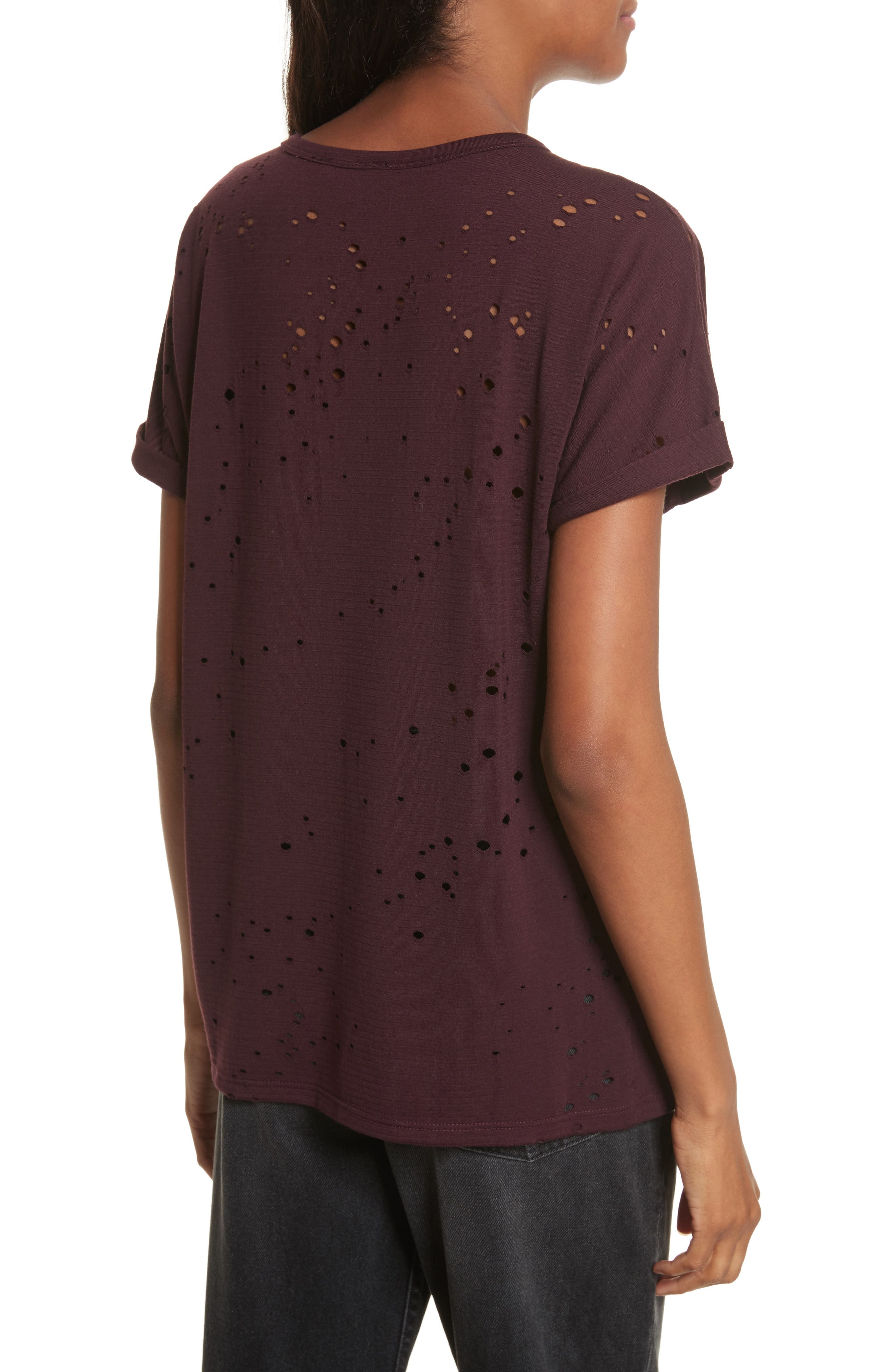 Waverly Perforated Tee,                             Alternate thumbnail 2, color,                             Mulberry