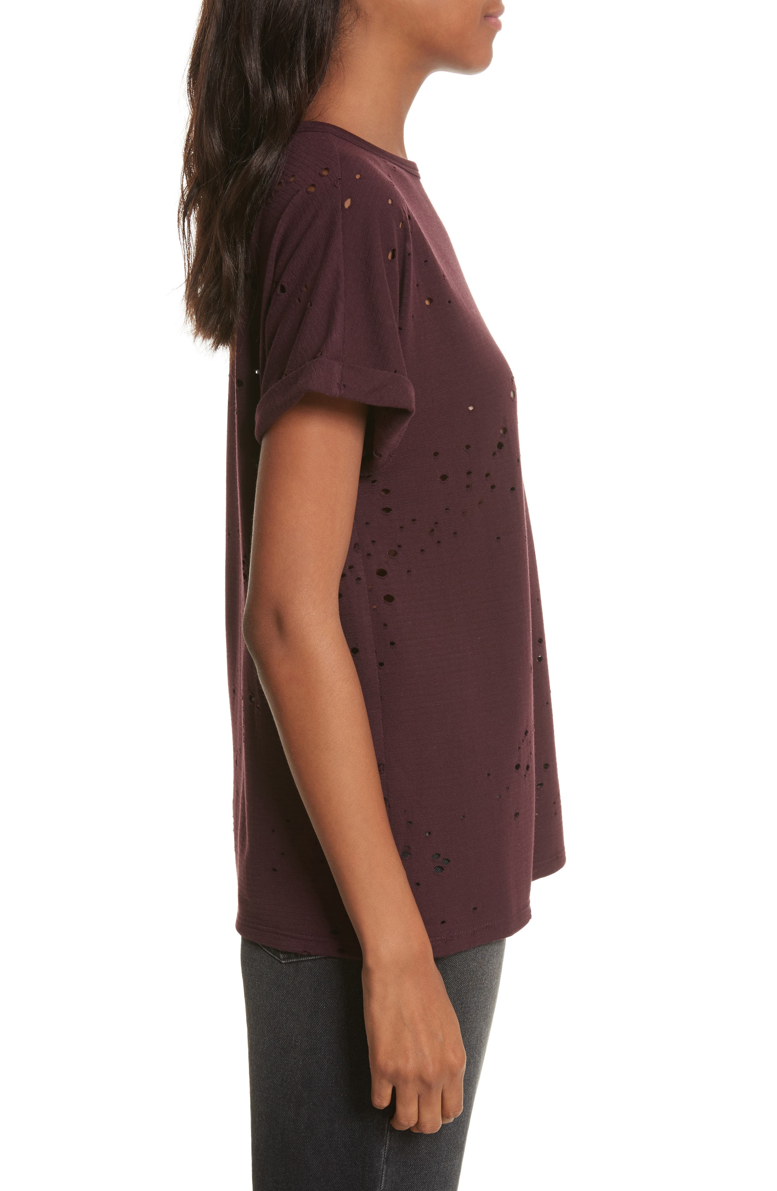 Waverly Perforated Tee,                             Alternate thumbnail 3, color,                             Mulberry