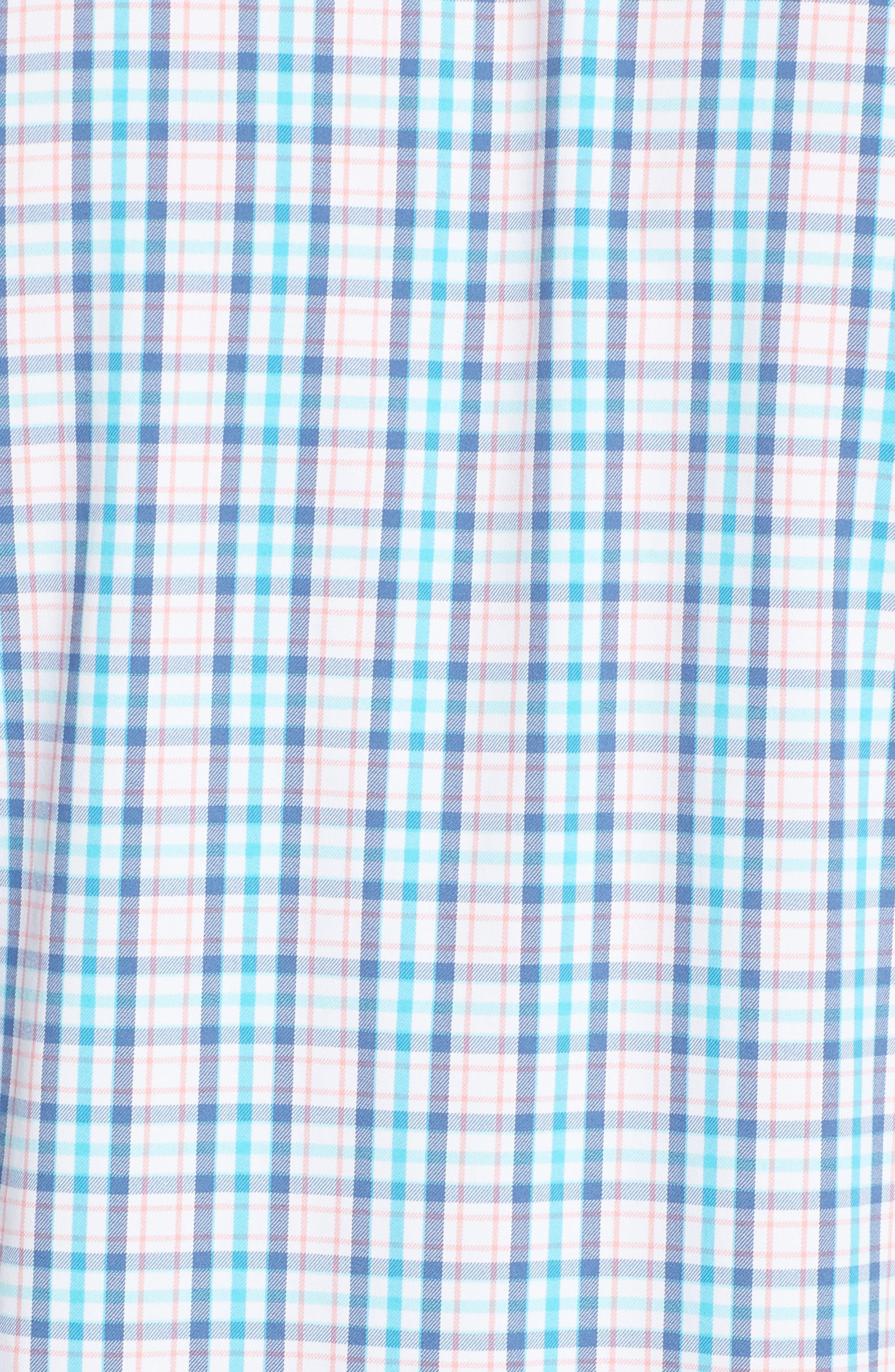 Intercoastal Surfsong Plaid Performance Sport Shirt,                             Alternate thumbnail 5, color,                             Seven Seas Blue