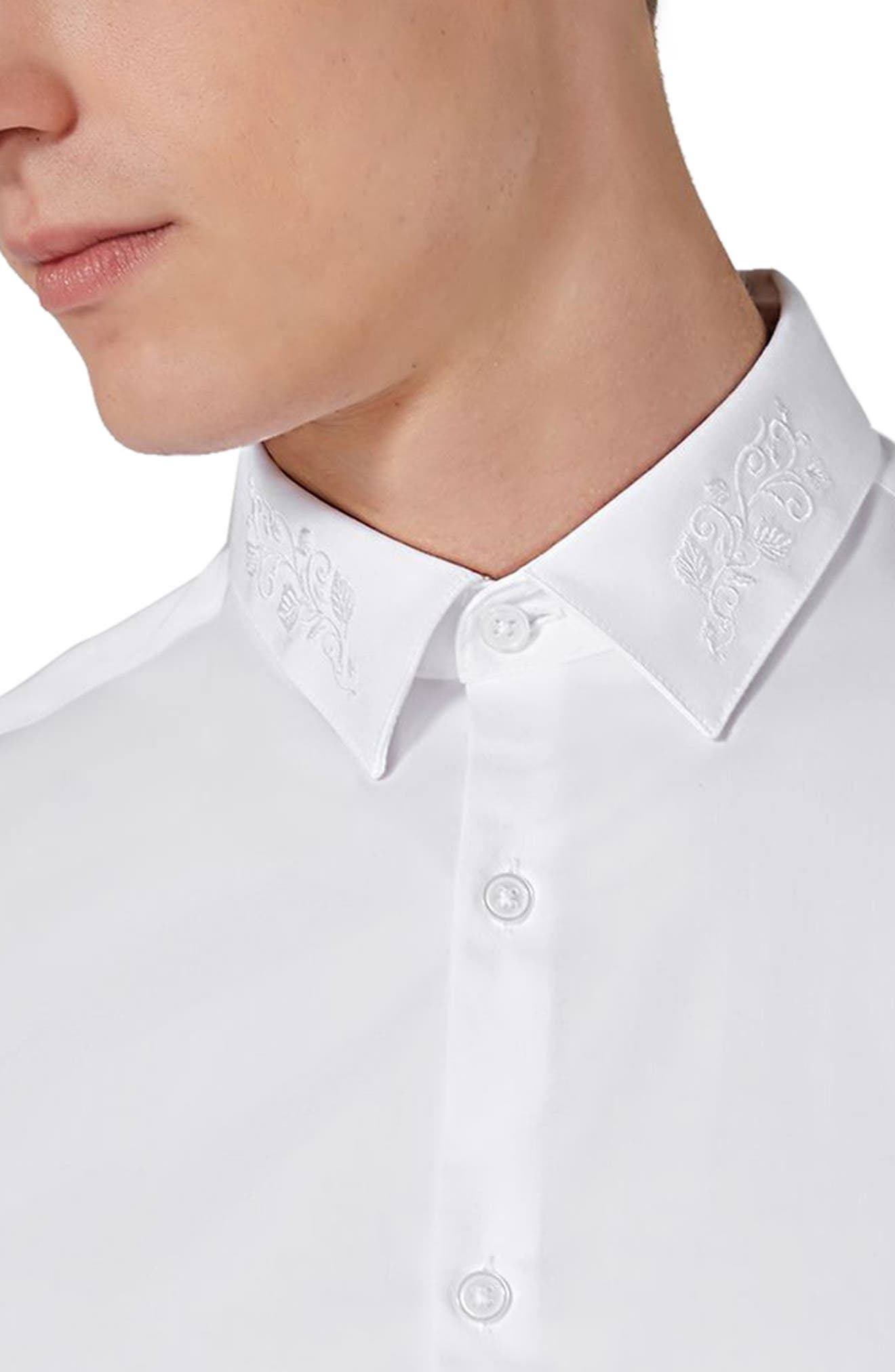 Slim Fit Embroidered Collar Dress Shirt,                             Alternate thumbnail 4, color,                             White