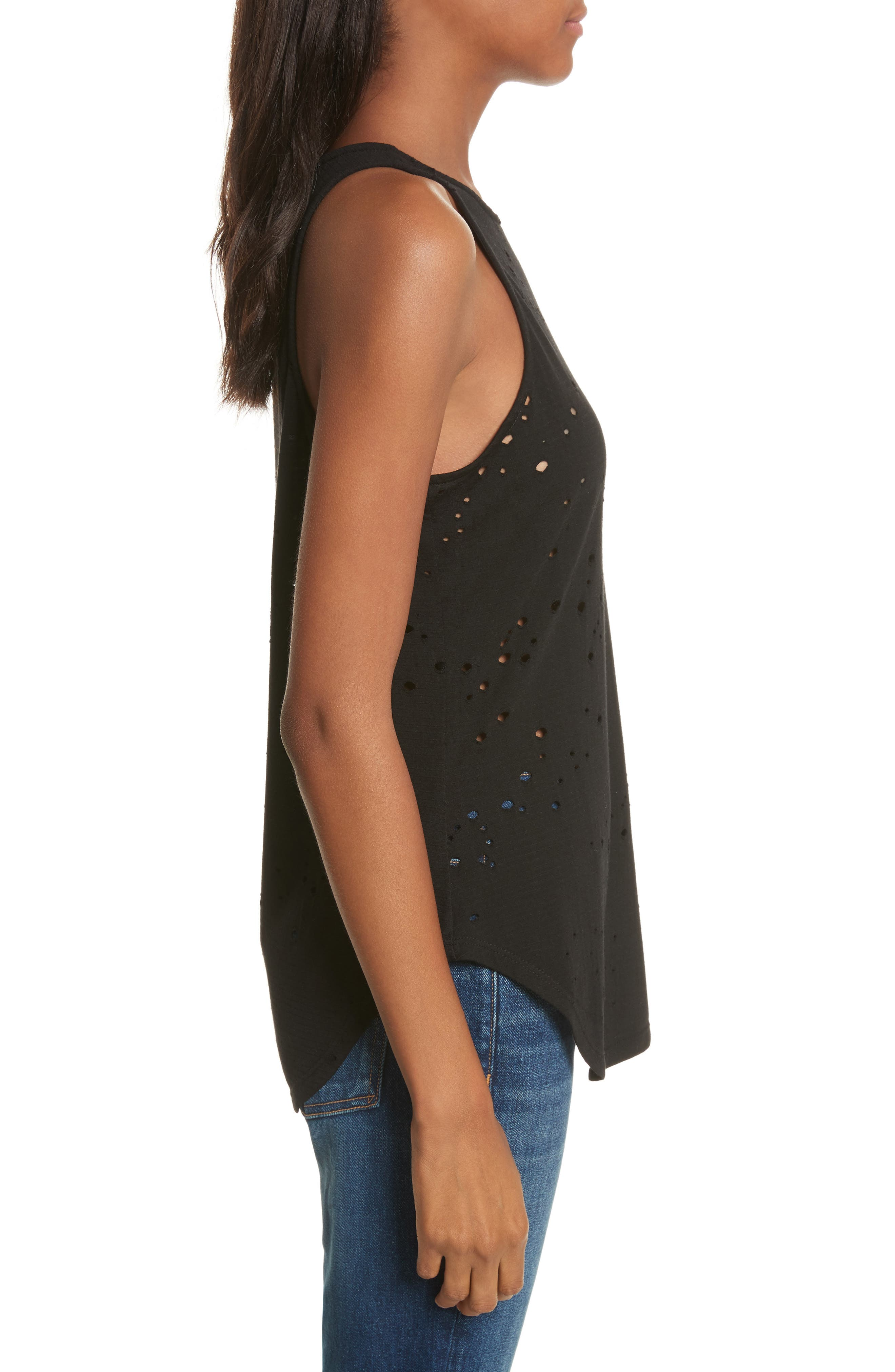 Waverly Perforated Tank,                             Alternate thumbnail 3, color,                             Black