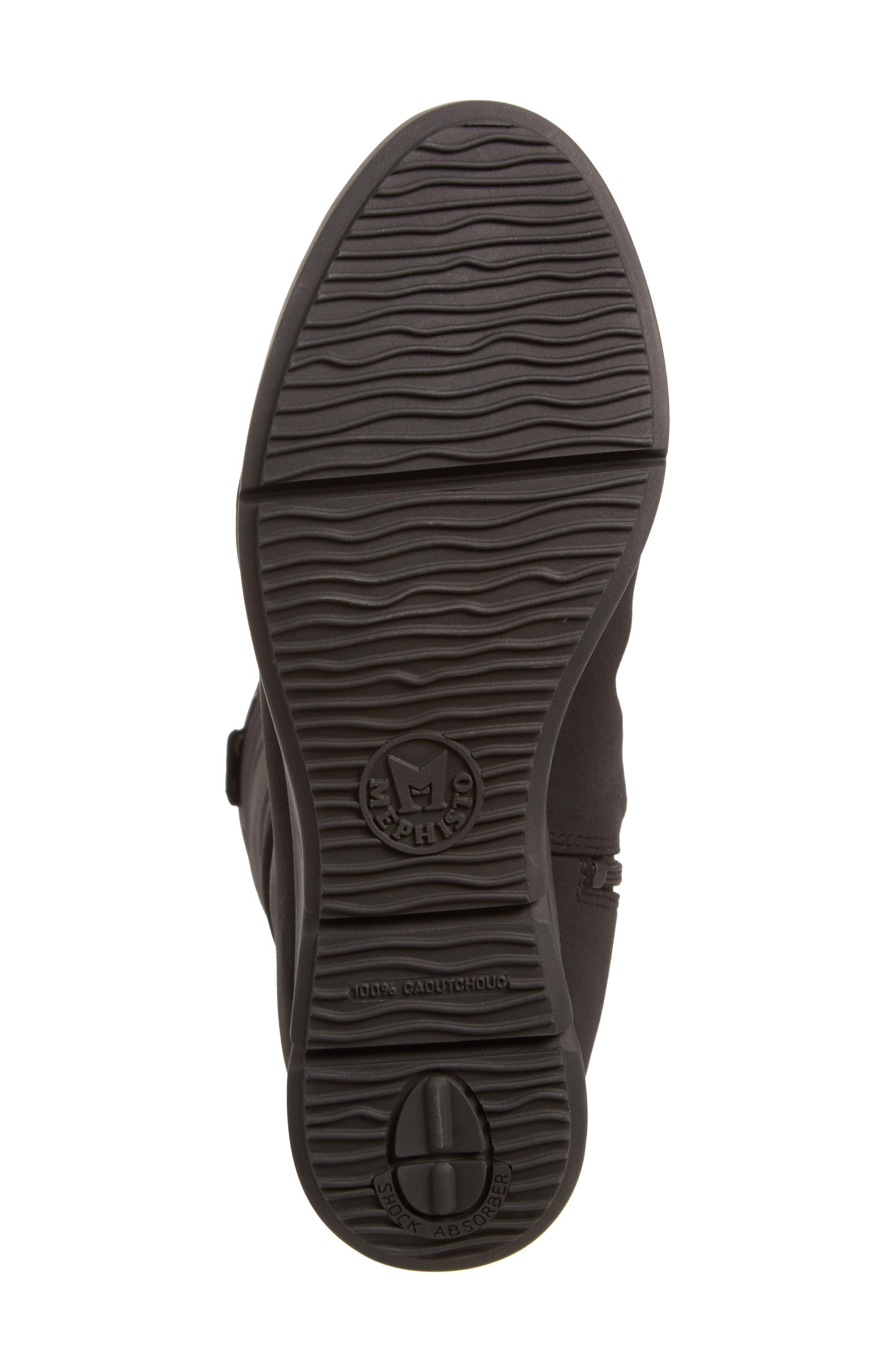 Minda Waterproof Wedge Boot,                             Alternate thumbnail 6, color,                             Black Fabric