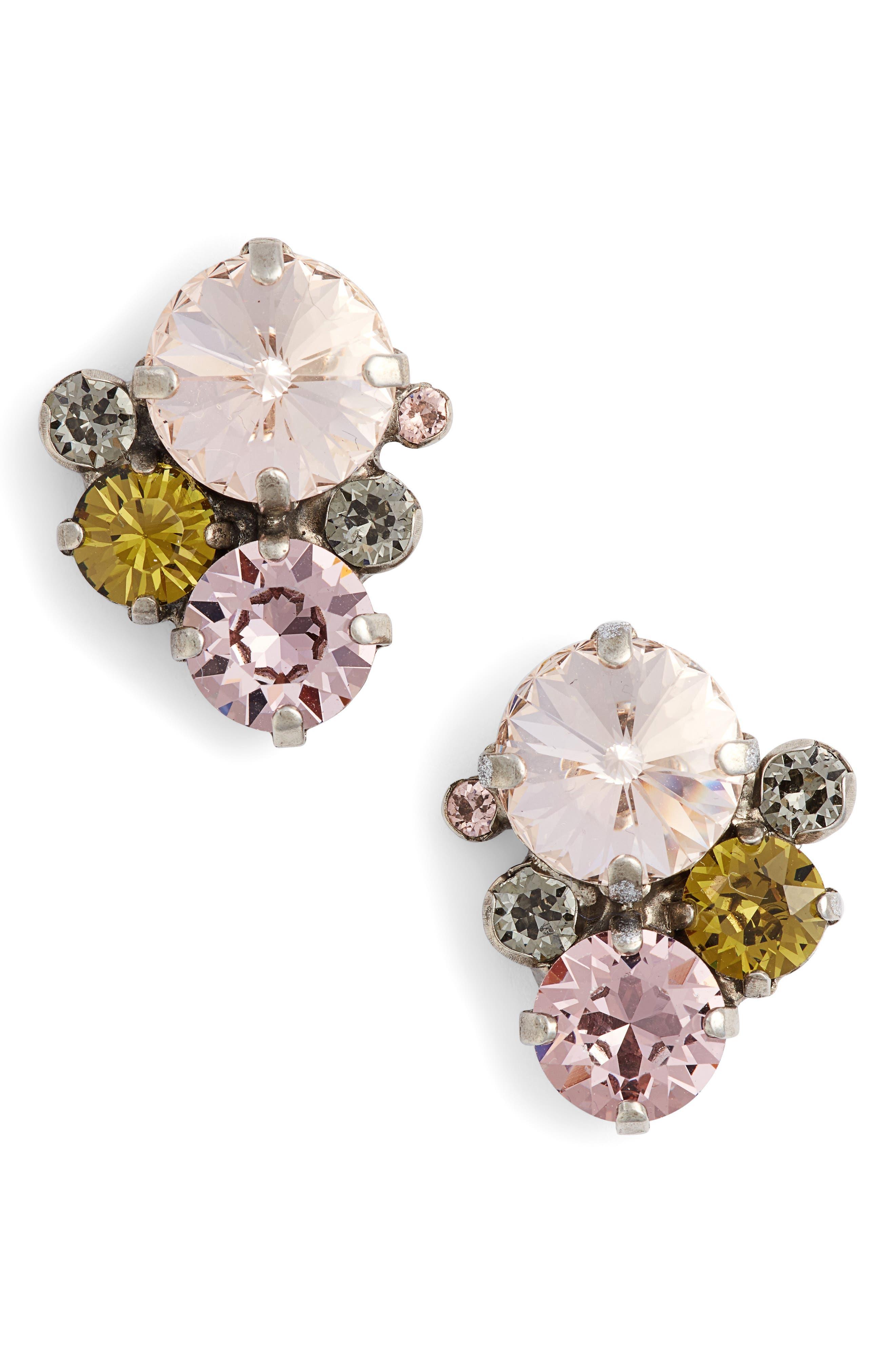 Army Girl Crystal Stud Earrings,                         Main,                         color, Pink