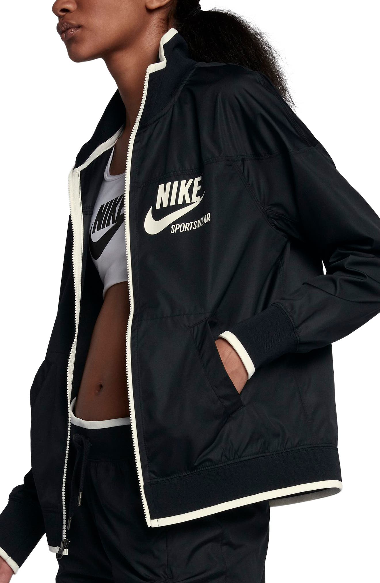 Sportswear Archive Jacket,                             Alternate thumbnail 3, color,                             Black/ Sail