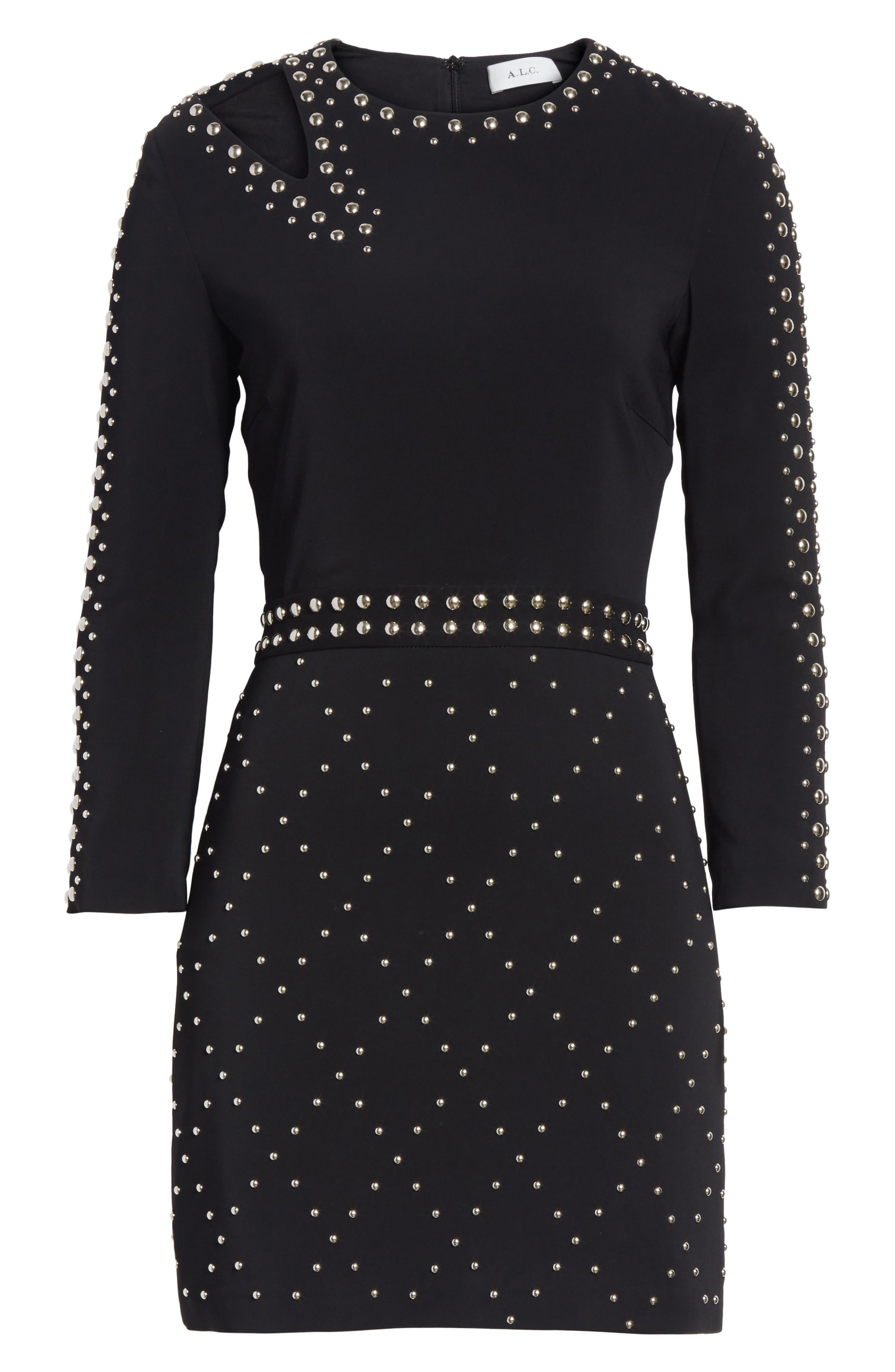 Taraji Studded Dress,                             Alternate thumbnail 6, color,                             Black