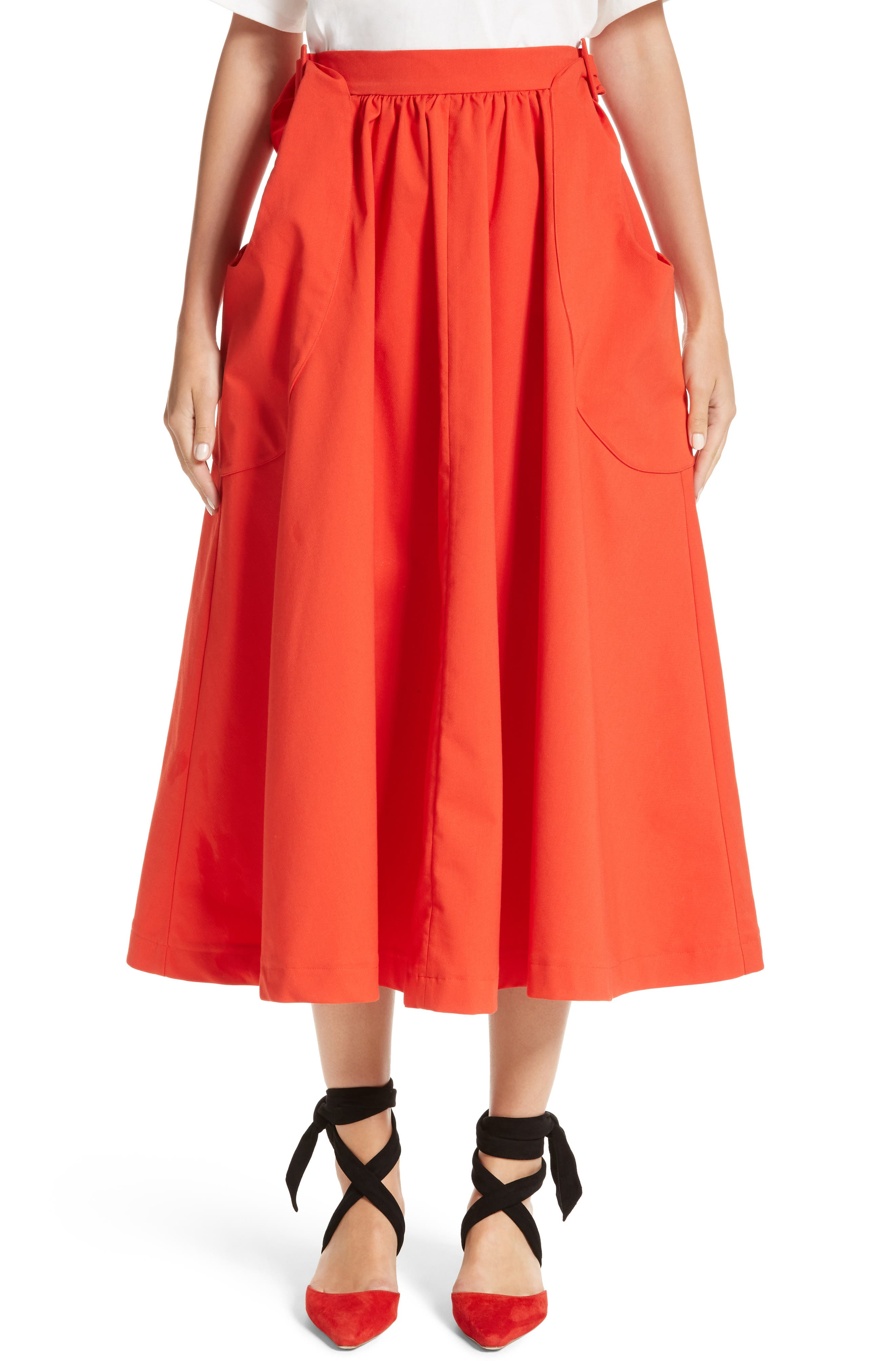 Belted Pocket Skirt,                             Main thumbnail 1, color,                             Cotton Red