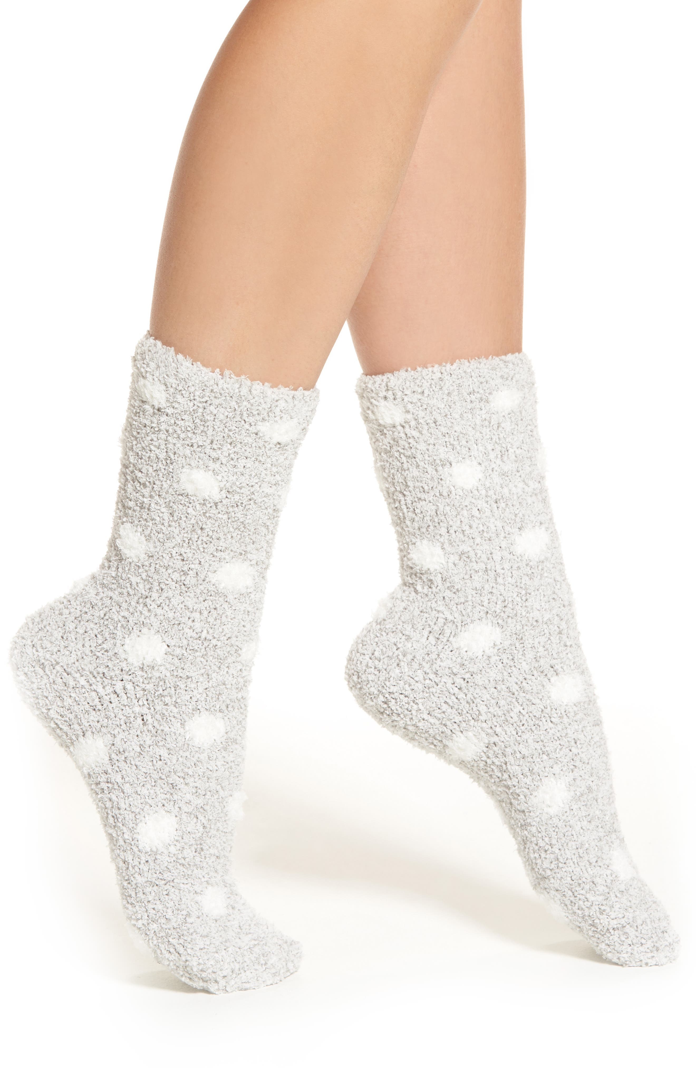 Butter Crew Socks,                         Main,                         color, Grey With White Dot