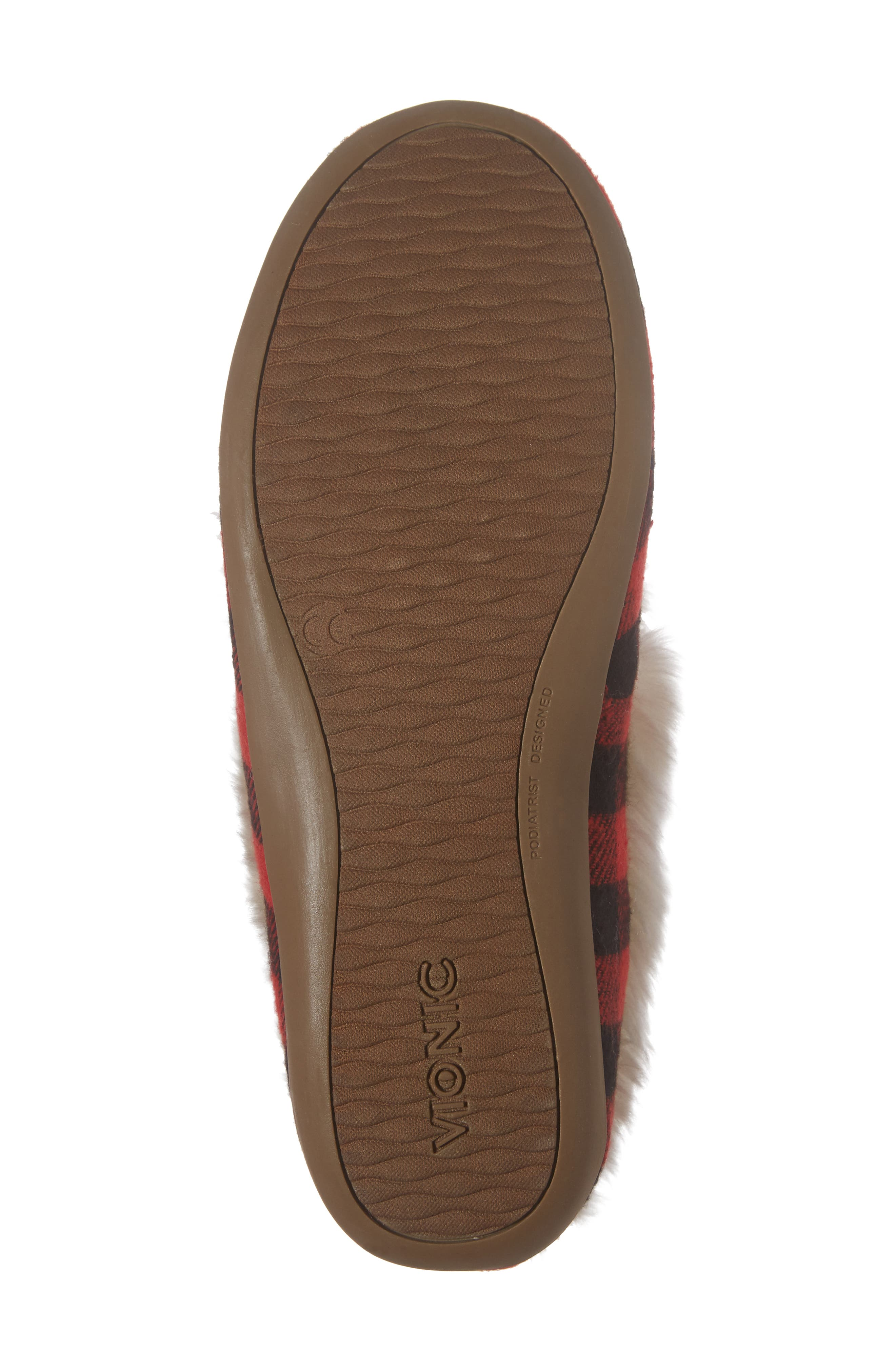 Juniper Faux Fur Slipper,                             Alternate thumbnail 6, color,                             Black Red Textile