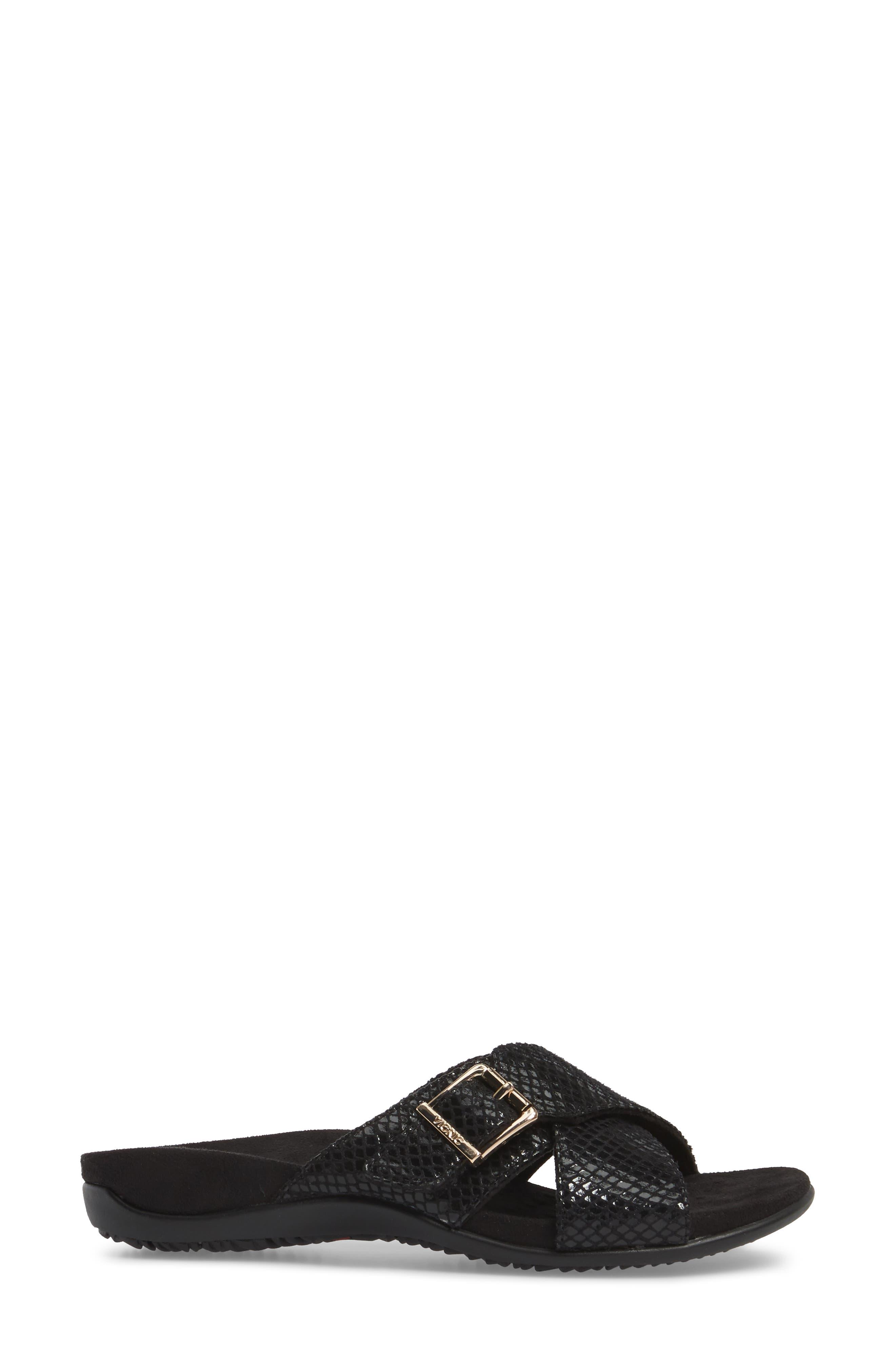 Dorie Cross Strap Slide Sandal,                             Alternate thumbnail 3, color,                             Black Snake Faux Leather