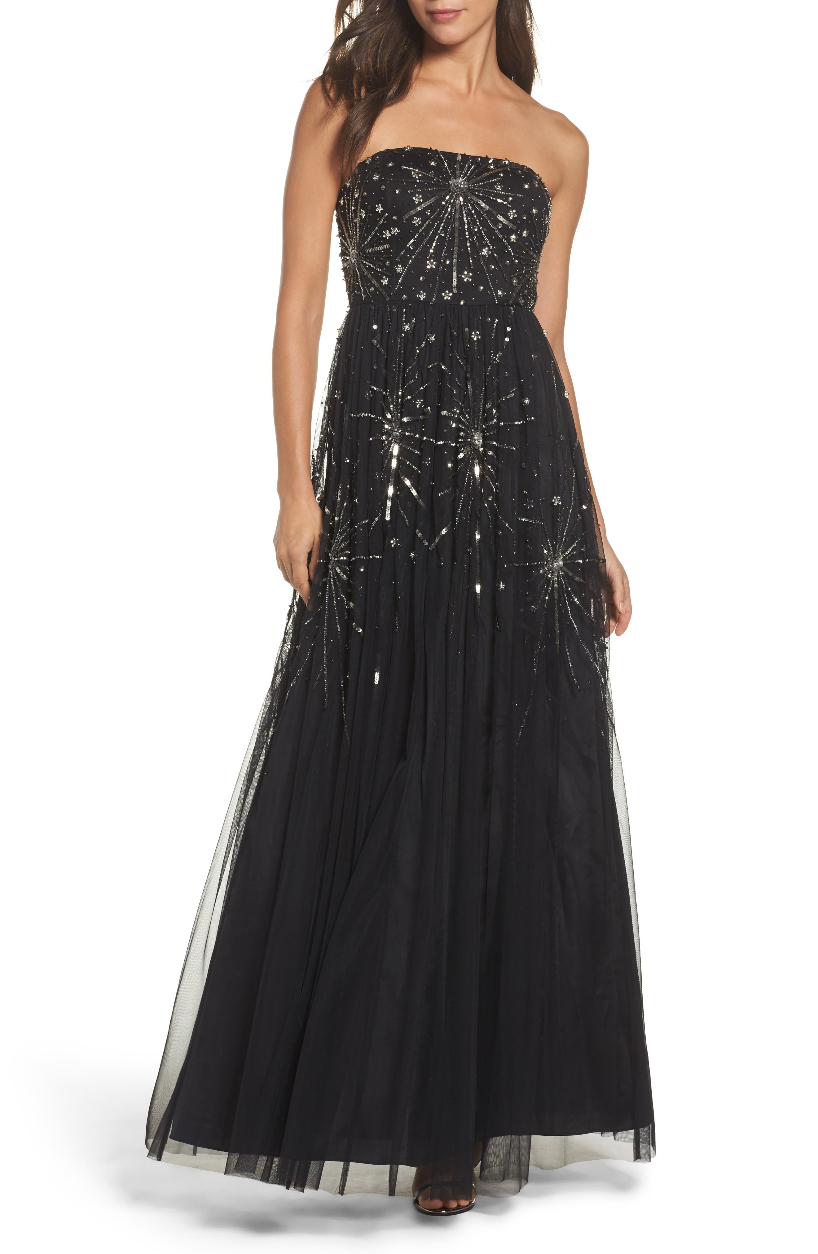 Embellished Strapless Mesh Gown,                             Main thumbnail 1, color,                             Black