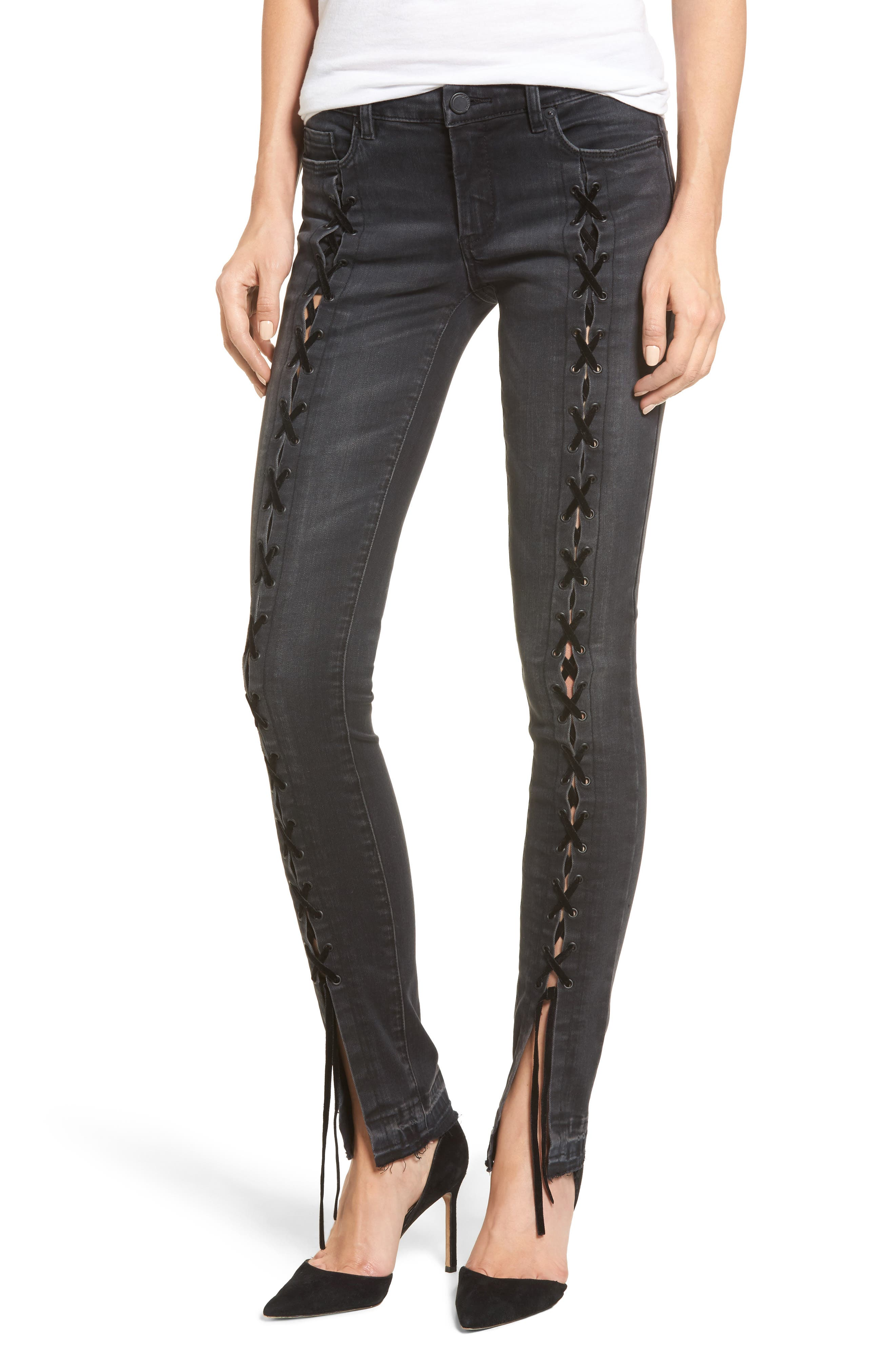 BLANKNYC Crash Tactics Lace Up Skinny Jeans
