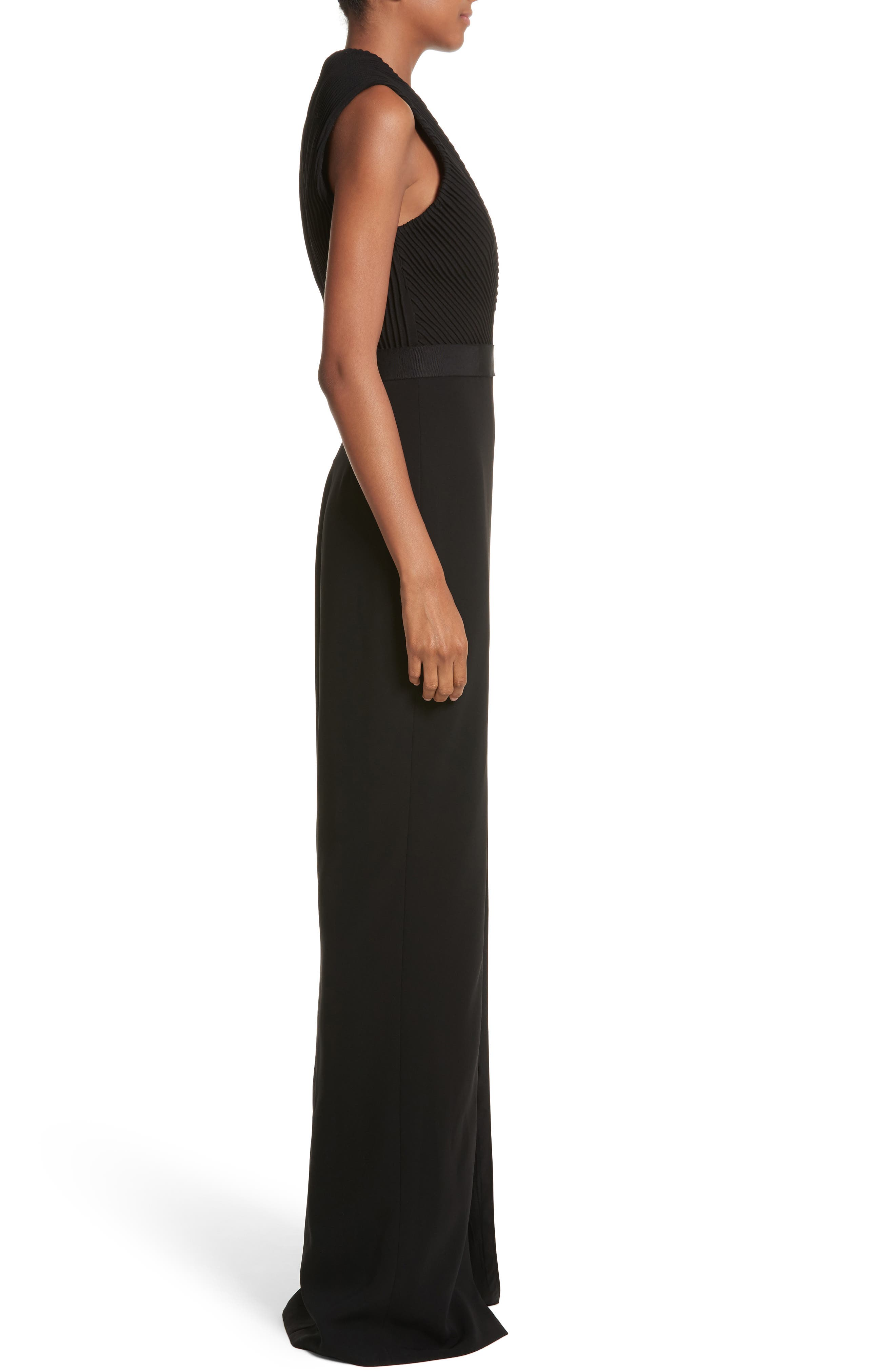 Plunging Silk Crepe Gown,                             Alternate thumbnail 3, color,                             Black