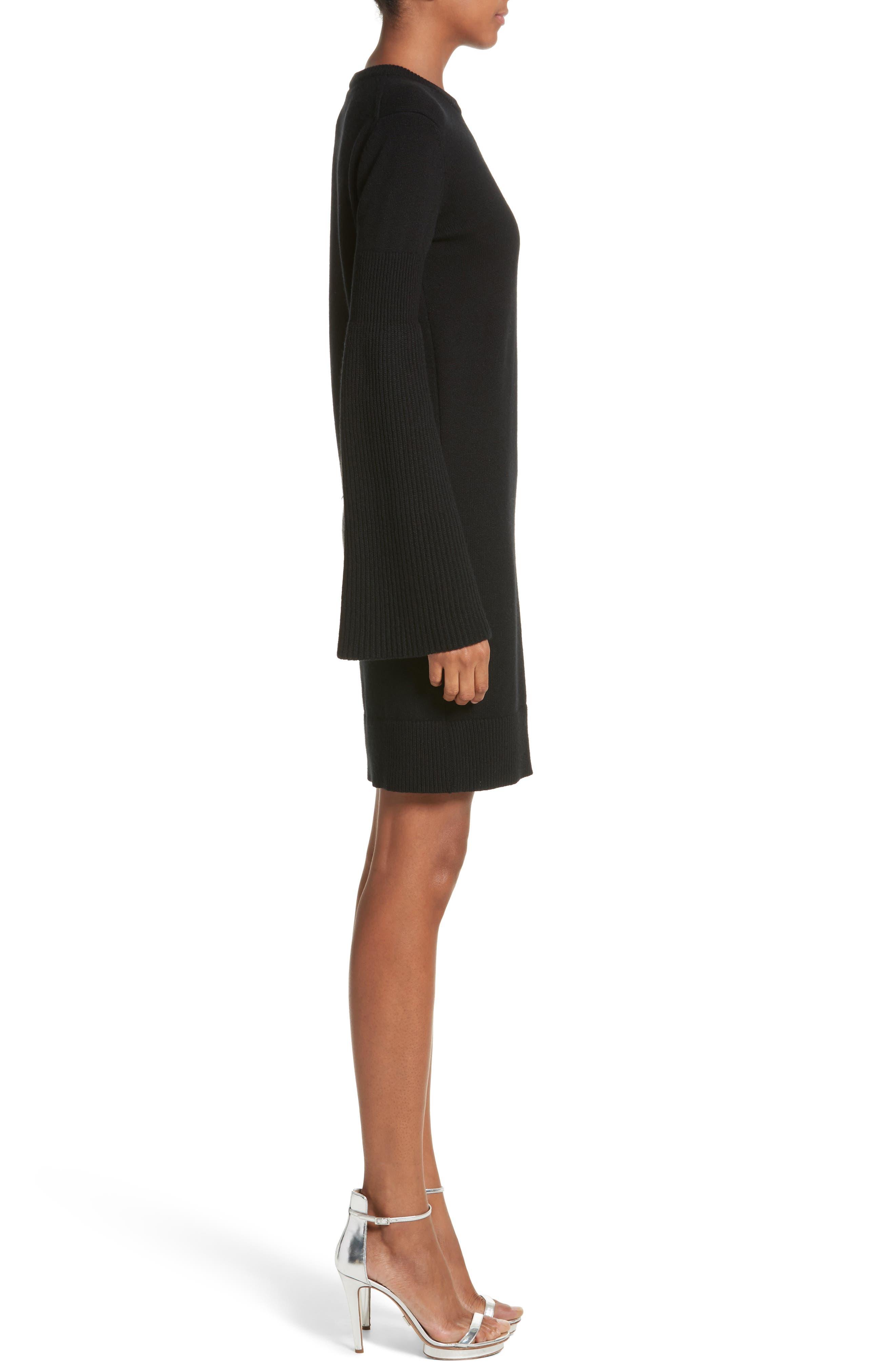 Cashmere Blend Bell Sleeve Dress,                             Alternate thumbnail 3, color,                             Black