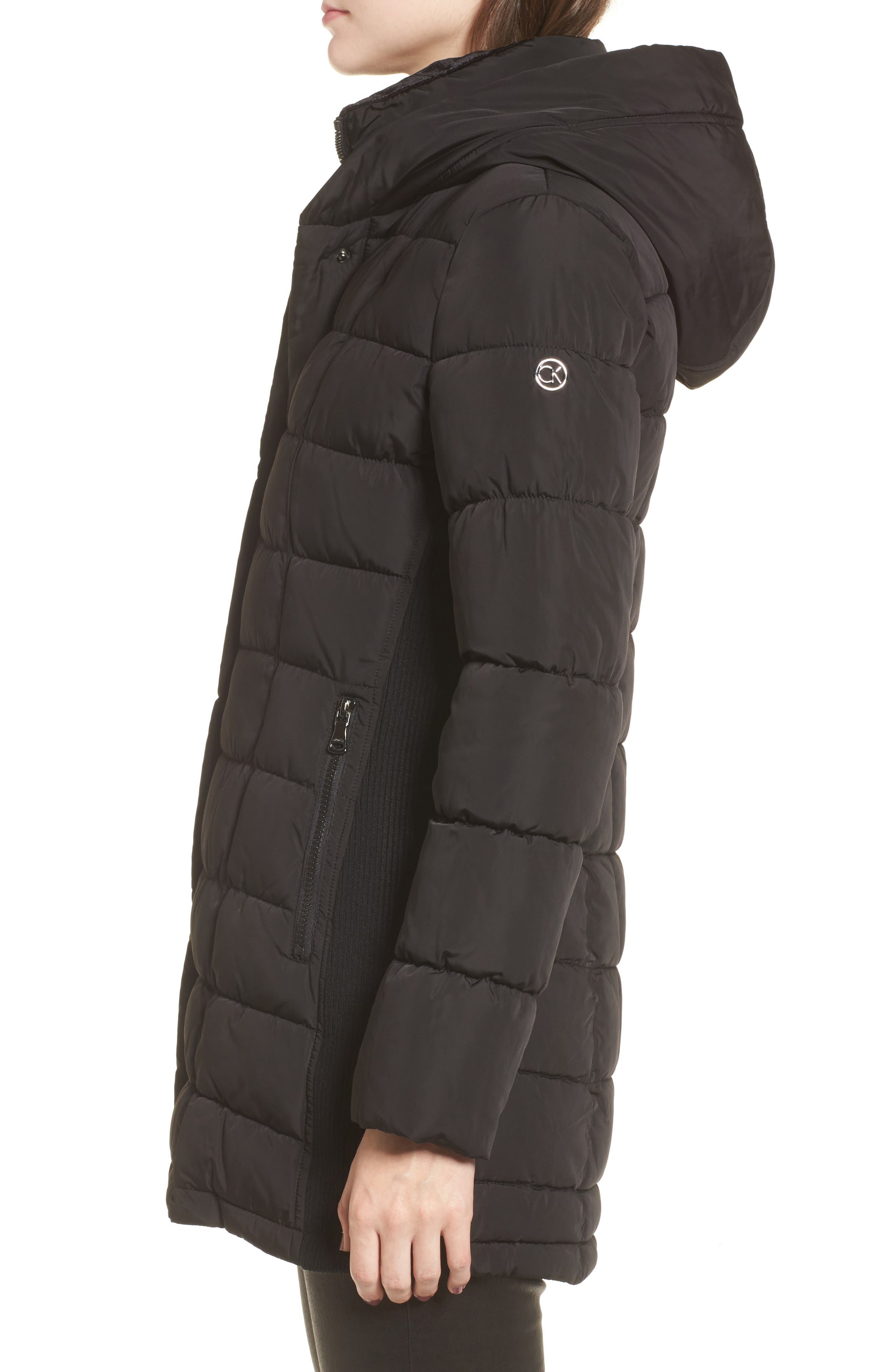 Alternate Image 3  - Calvin Klein Quilted Down Coat with Vest Inset