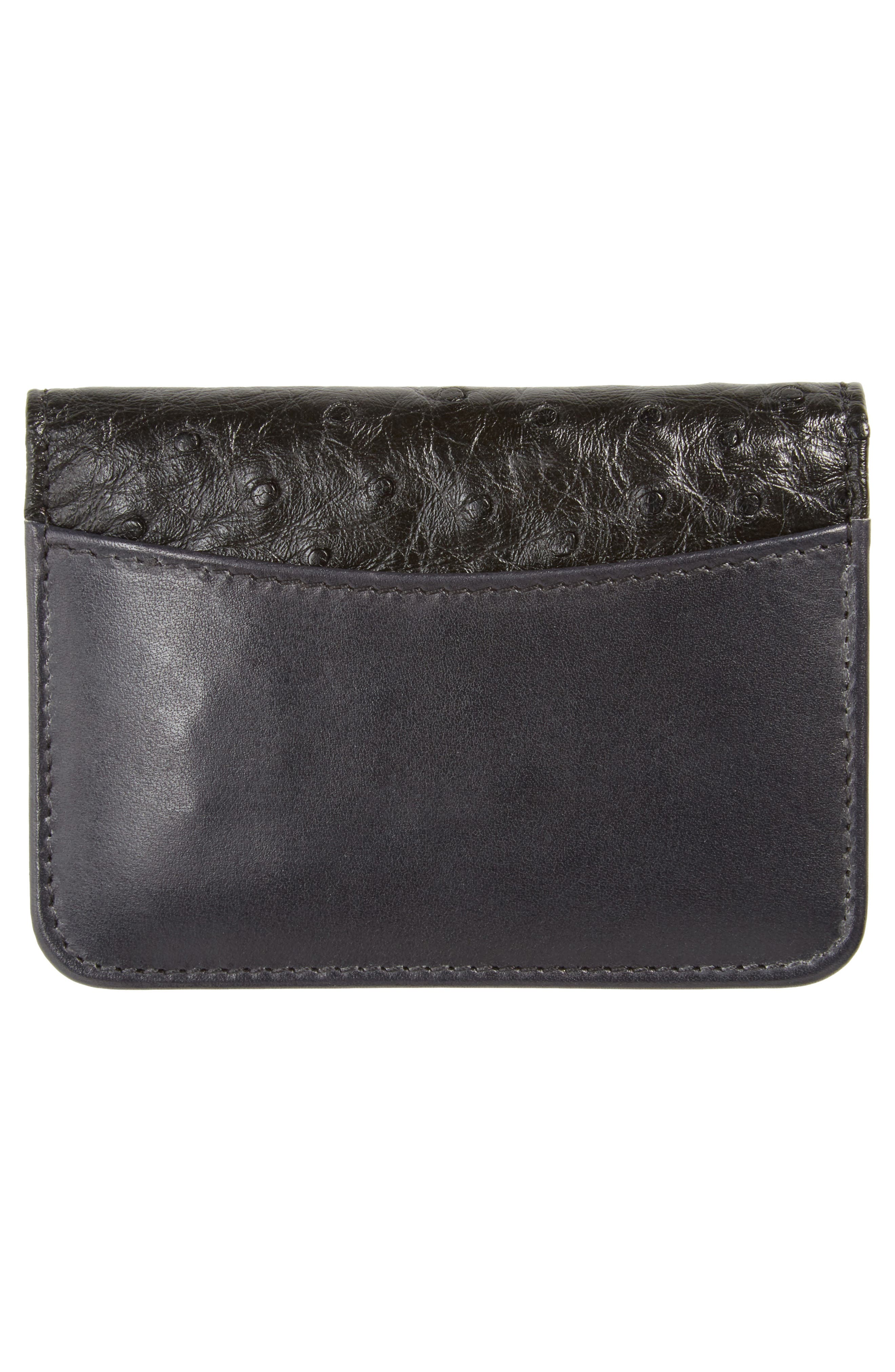 Ostrich Leather Card Case,                             Alternate thumbnail 3, color,                             Black