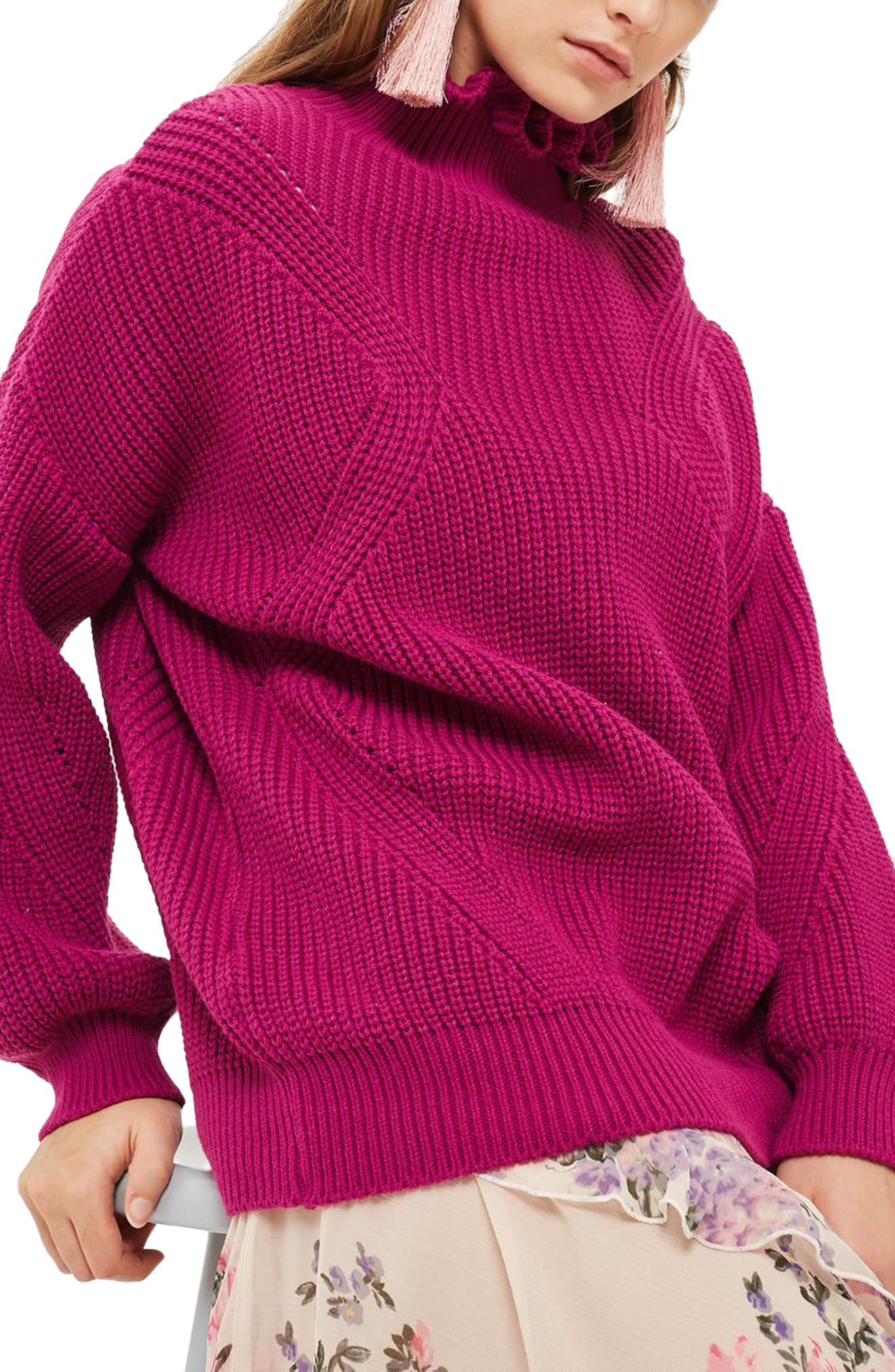 Frill Neck Sweater,                         Main,                         color, Bright Pink