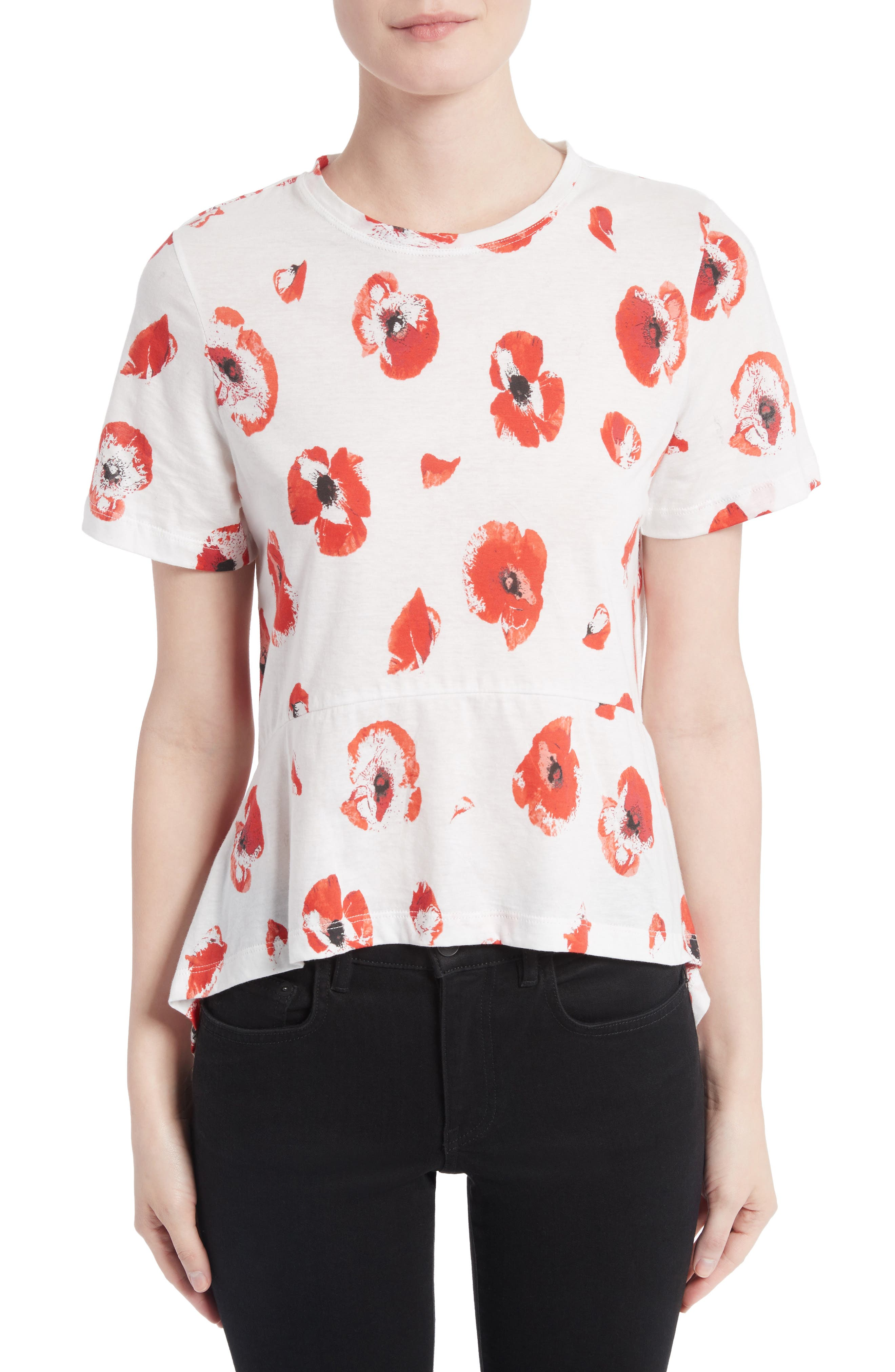 Floral Peplum Tee,                             Main thumbnail 1, color,                             Creme/ Coral Poppy