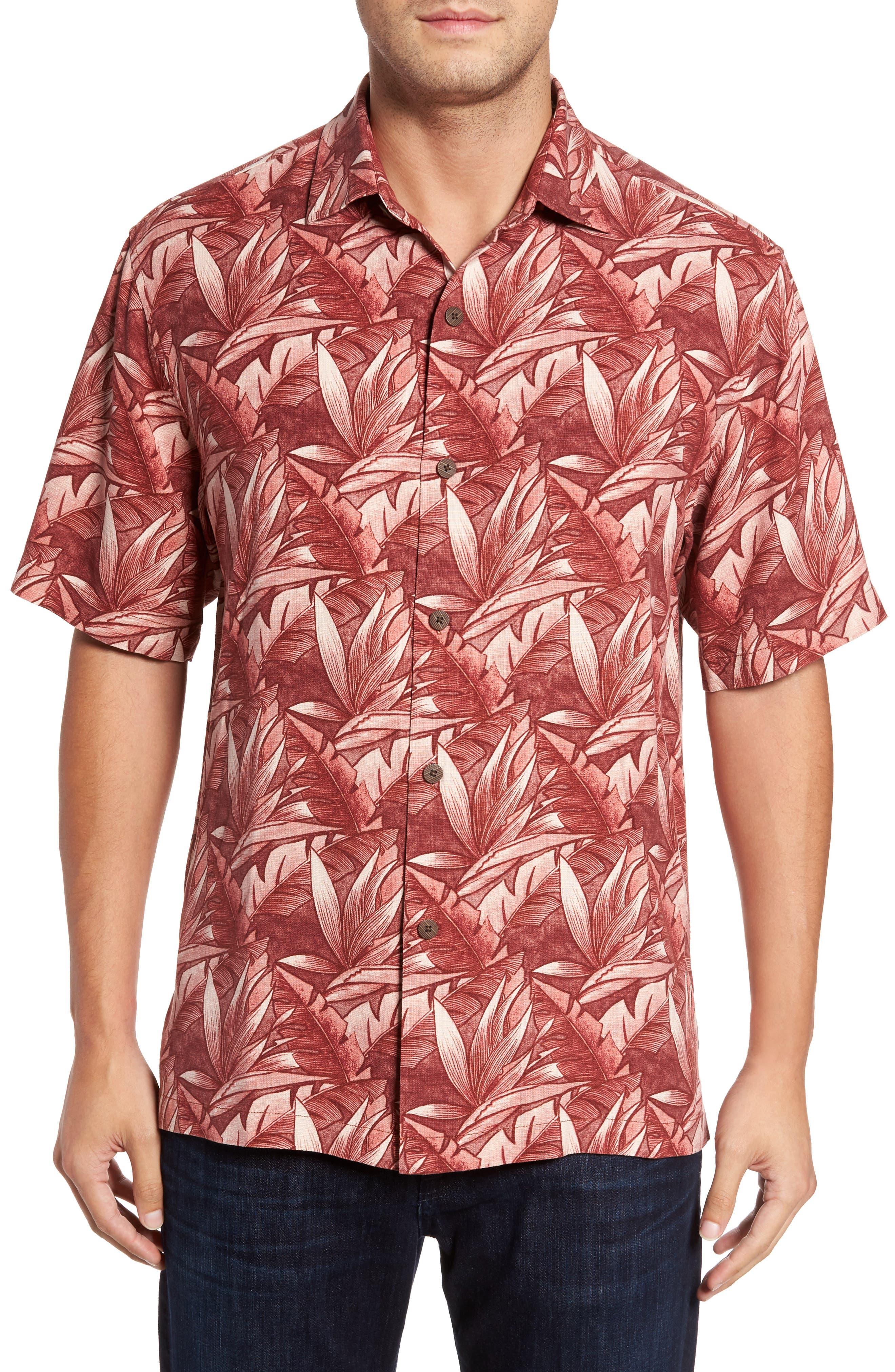 Jema Fronds Silk Camp Shirt,                         Main,                         color, Ruby Wine