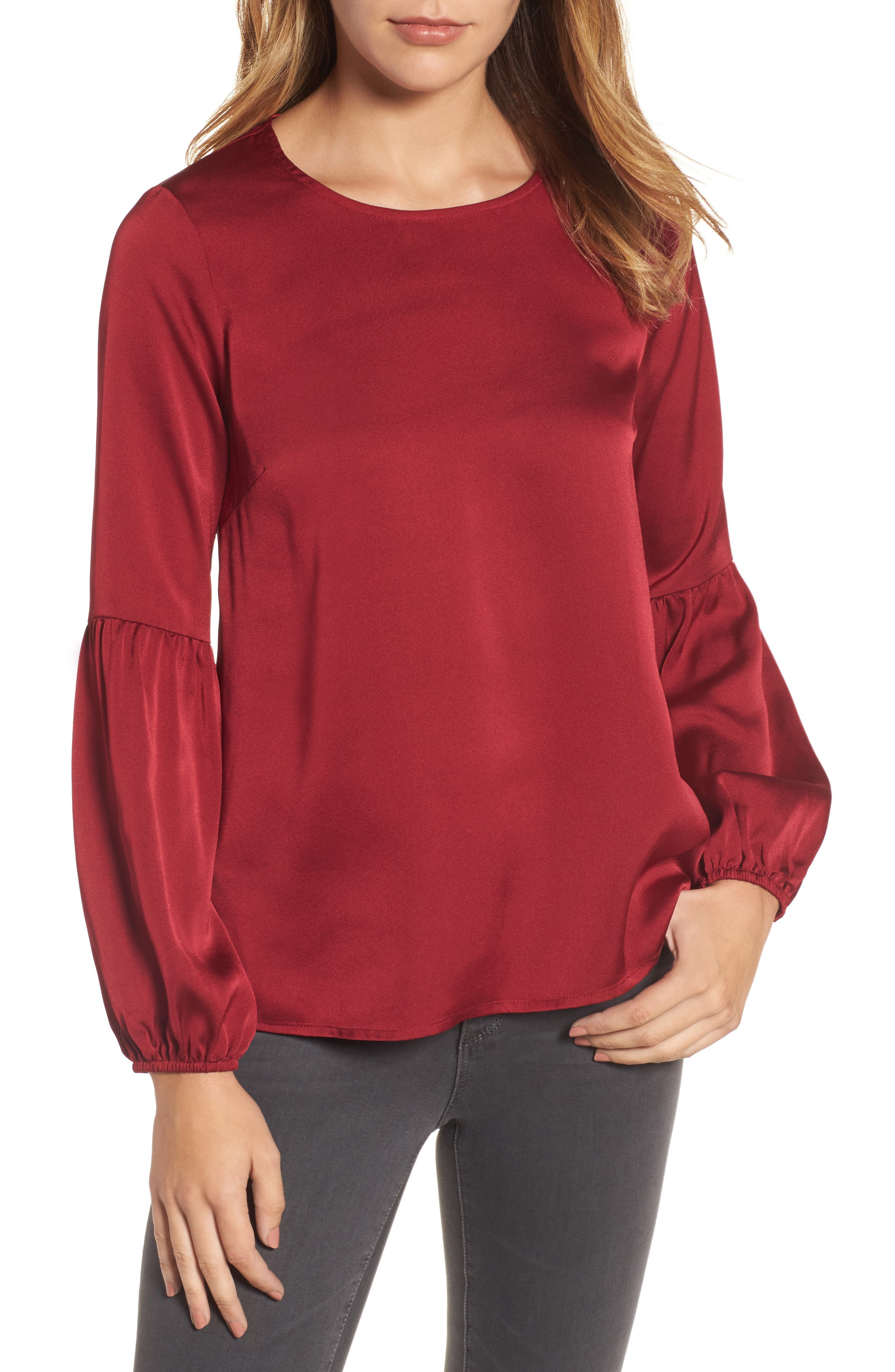 Bubble Sleeve Satin Top,                         Main,                         color, Ruby