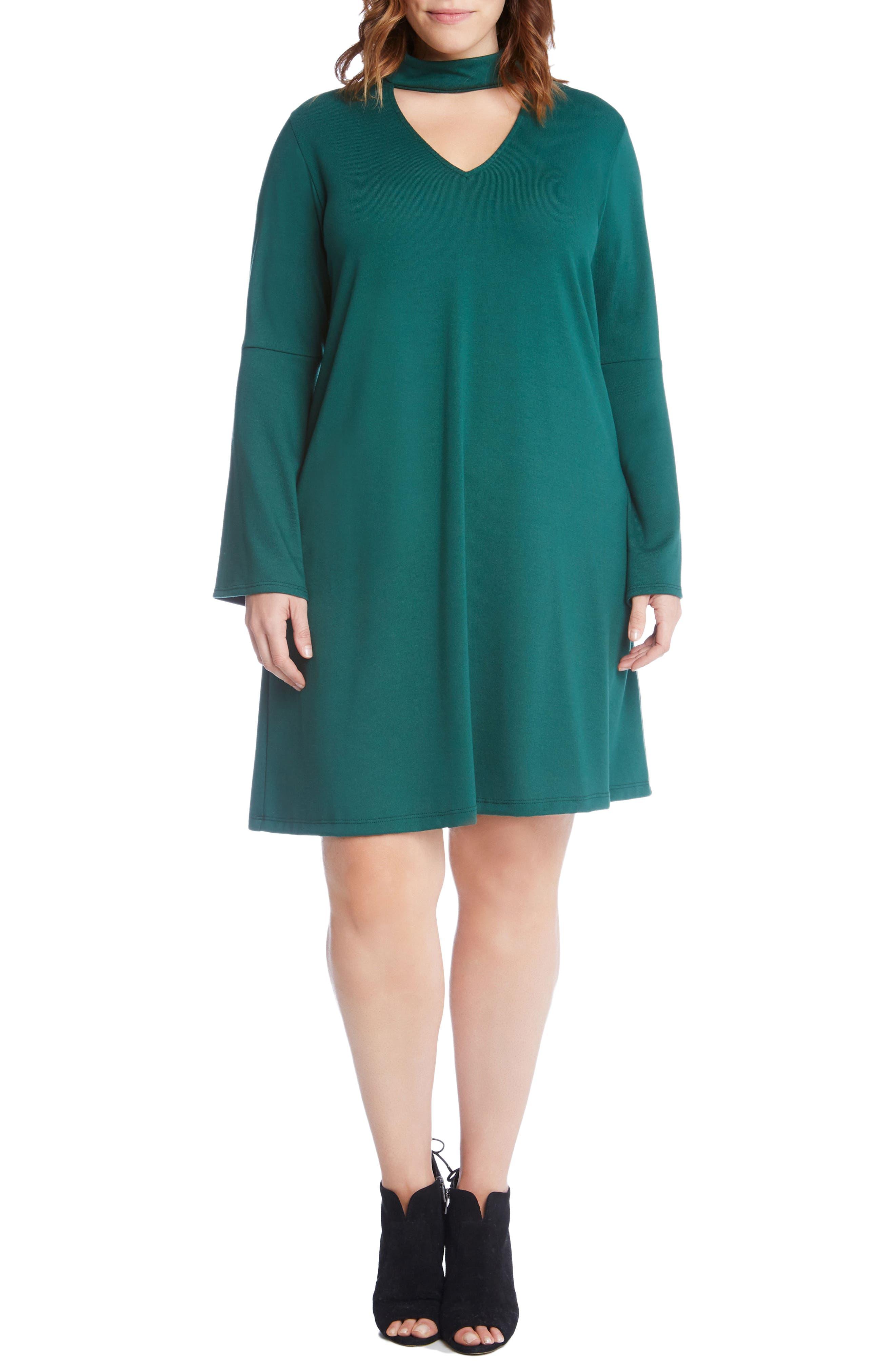 Main Image - Karen Kane Taylor Choker Neck A-Line Dress (Plus Size)
