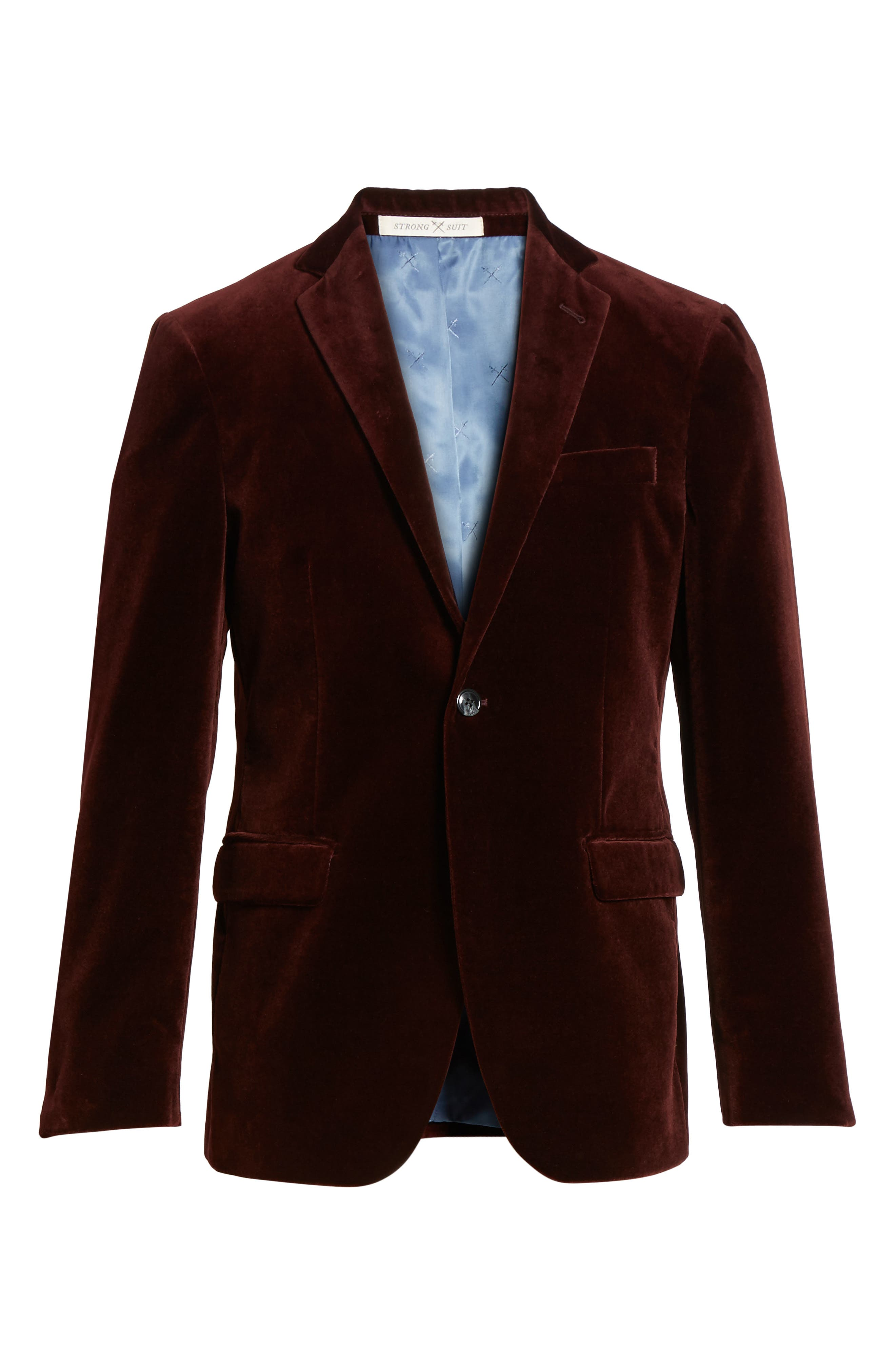 Alternate Image 6  - Strong Suit Noble Trim Fit Velvet Blazer