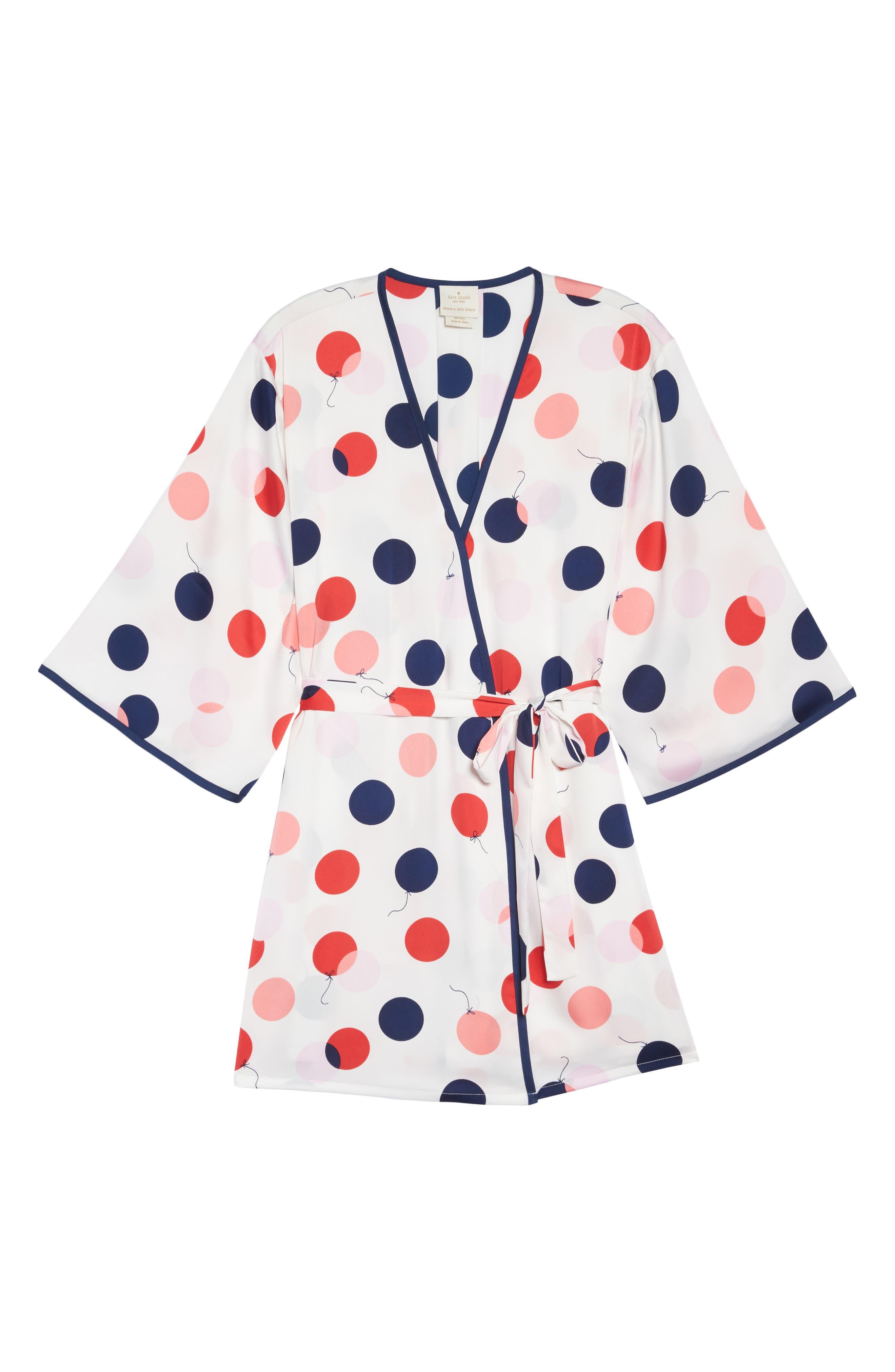 charmeuse short robe,                             Alternate thumbnail 6, color,                             White/ Red