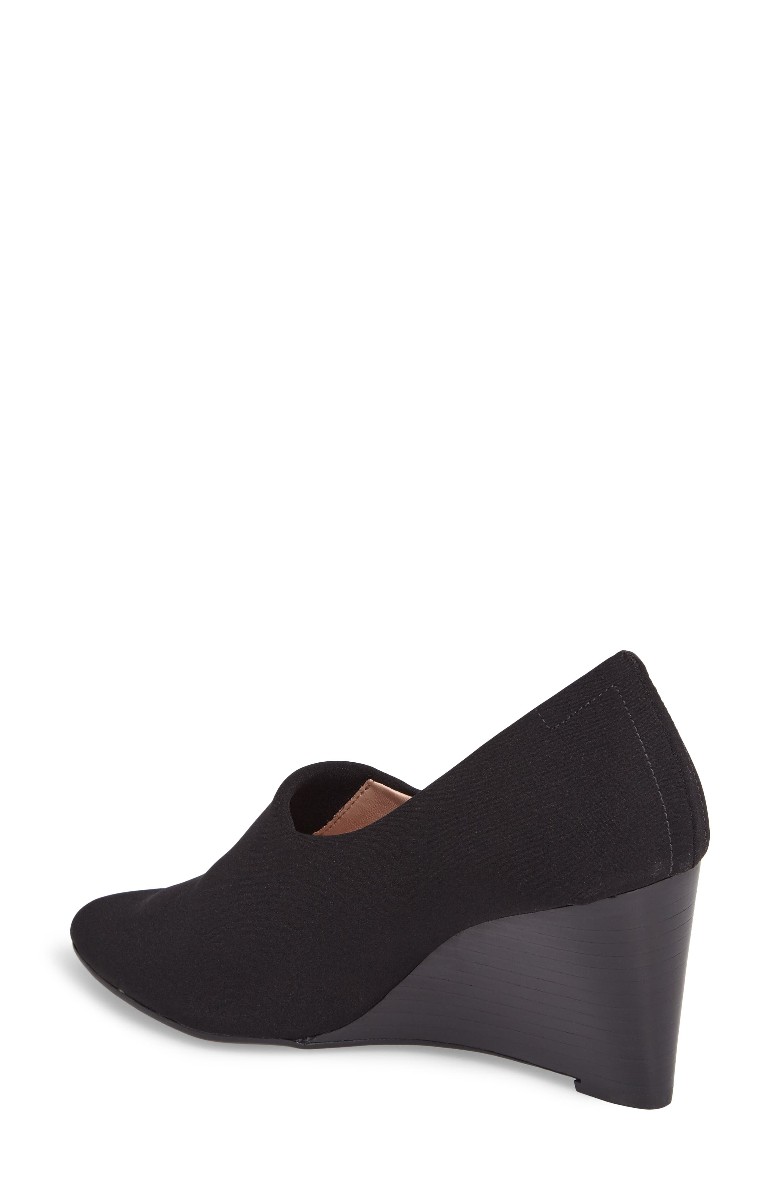 Yvonne Pointy Toe Wedge,                             Alternate thumbnail 2, color,                             Black Fabric