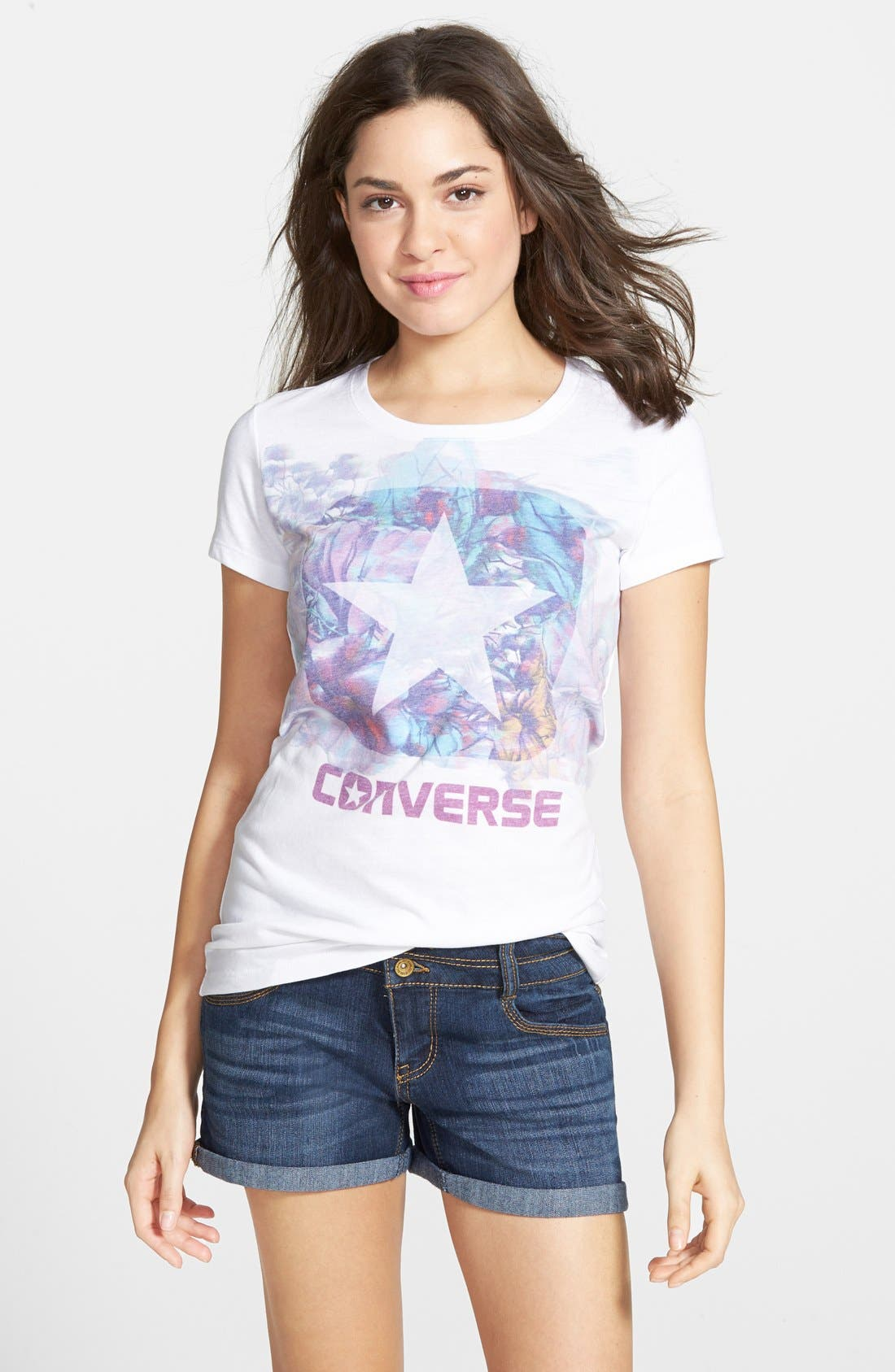 Alternate Image 1 Selected - Converse 'Hibiscus Box Star' Graphic Tee (Juniors)