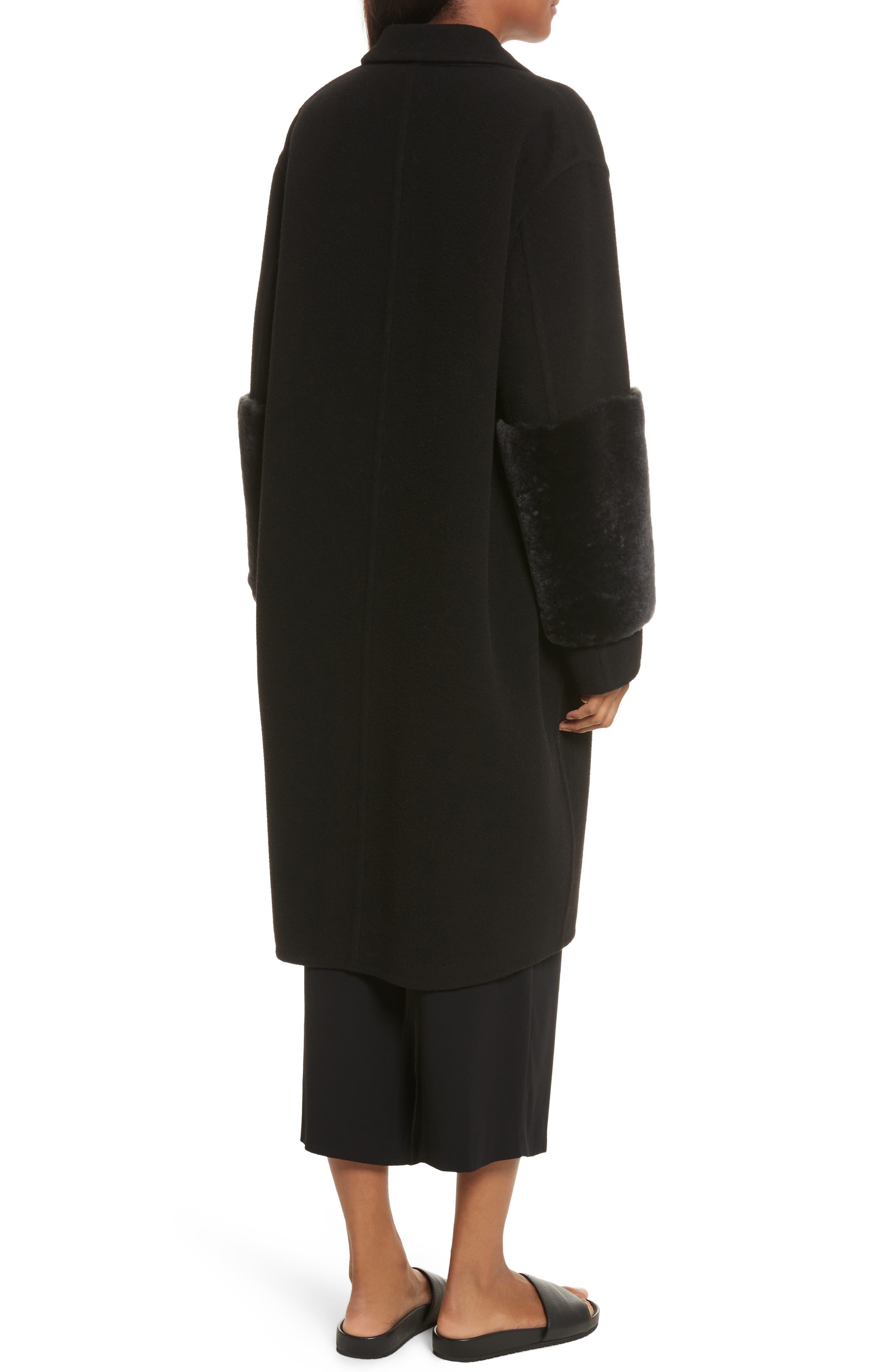 Genuine Shearling Trim Long Coat,                             Alternate thumbnail 2, color,                             Black