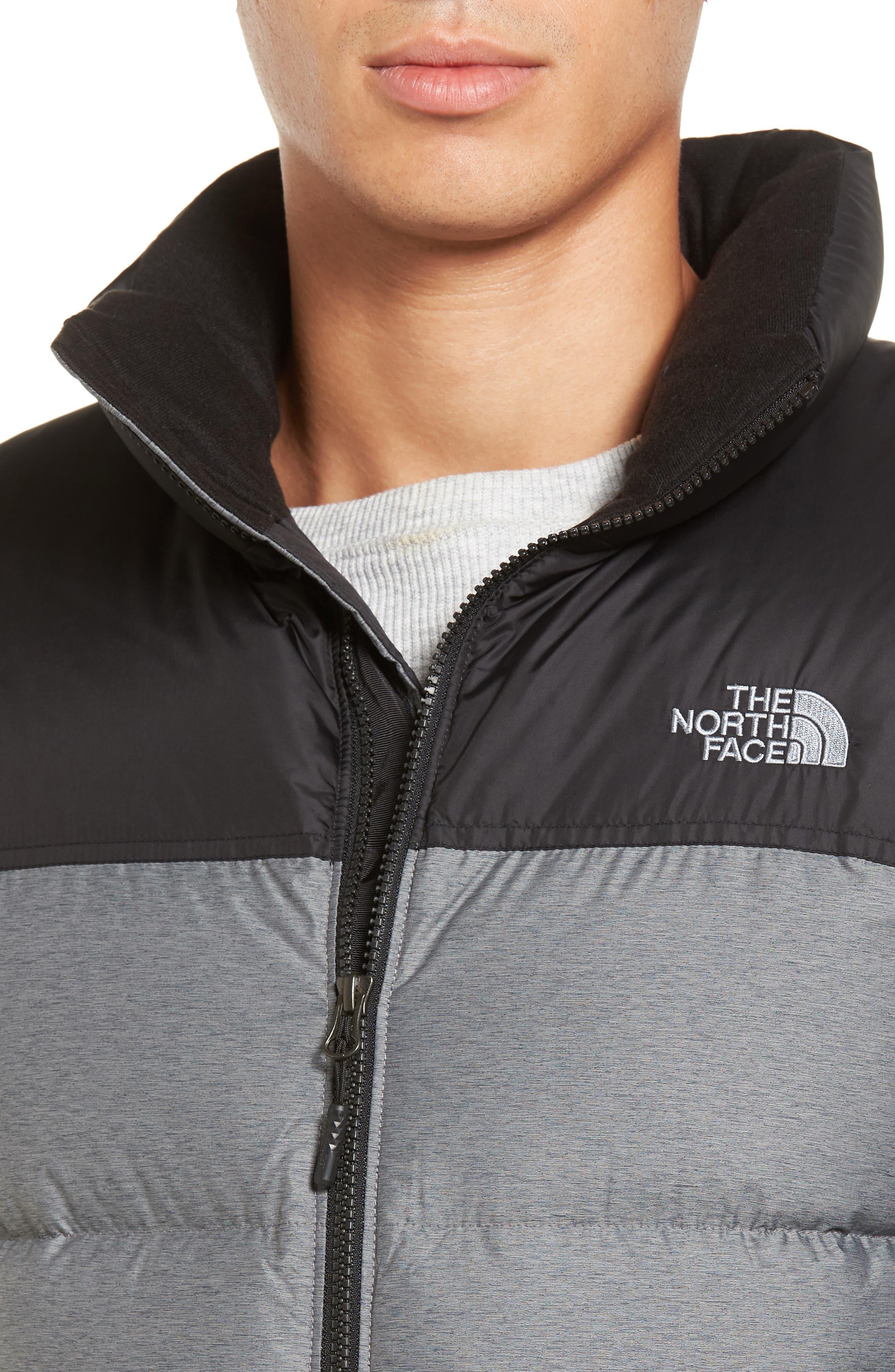 Nuptse Water Repellent Down Vest,                             Alternate thumbnail 4, color,                             Medium Grey Heather/ Black