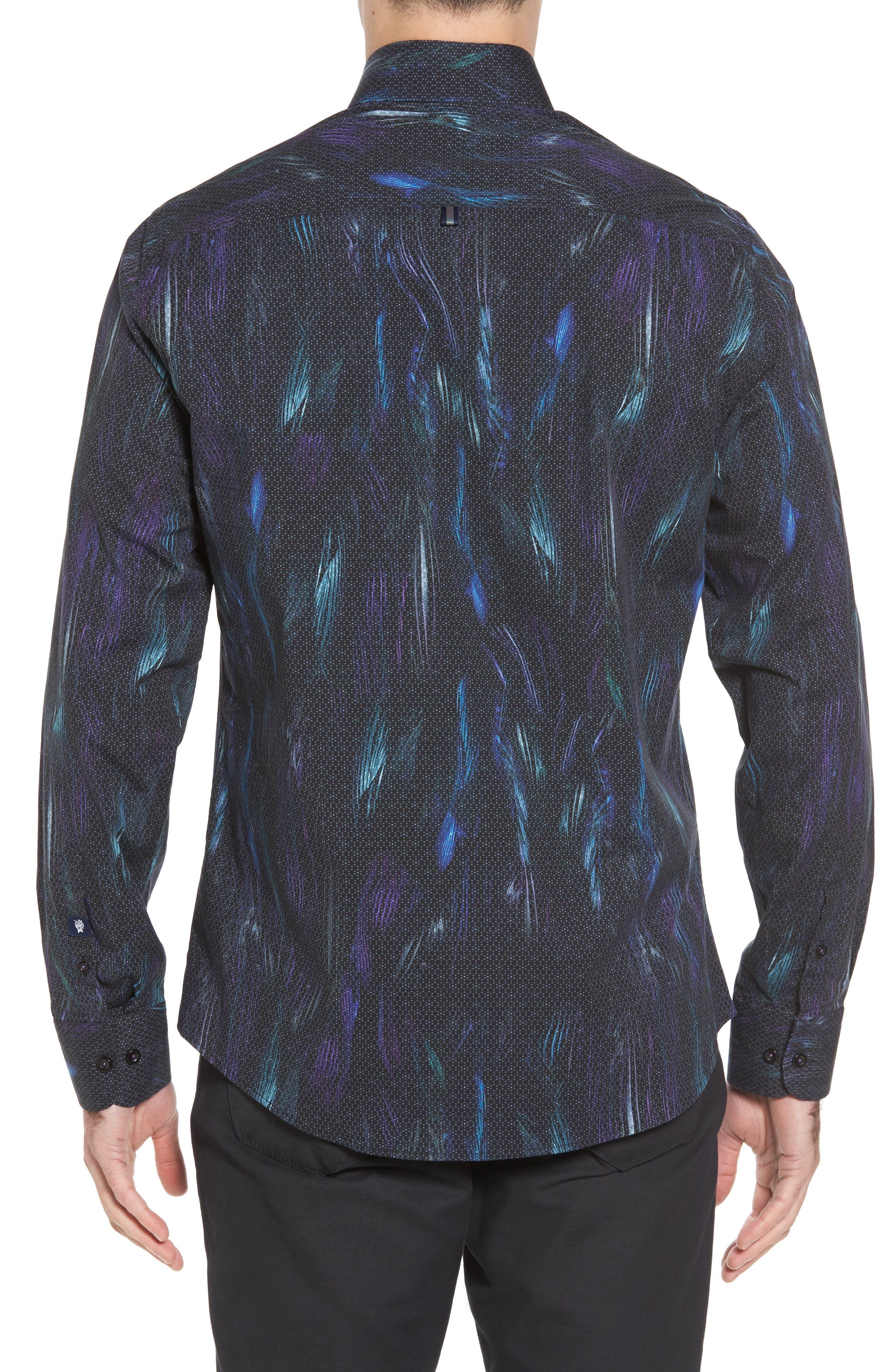 Slim Fit Geo FX Print Sport Shirt,                             Alternate thumbnail 2, color,                             Black